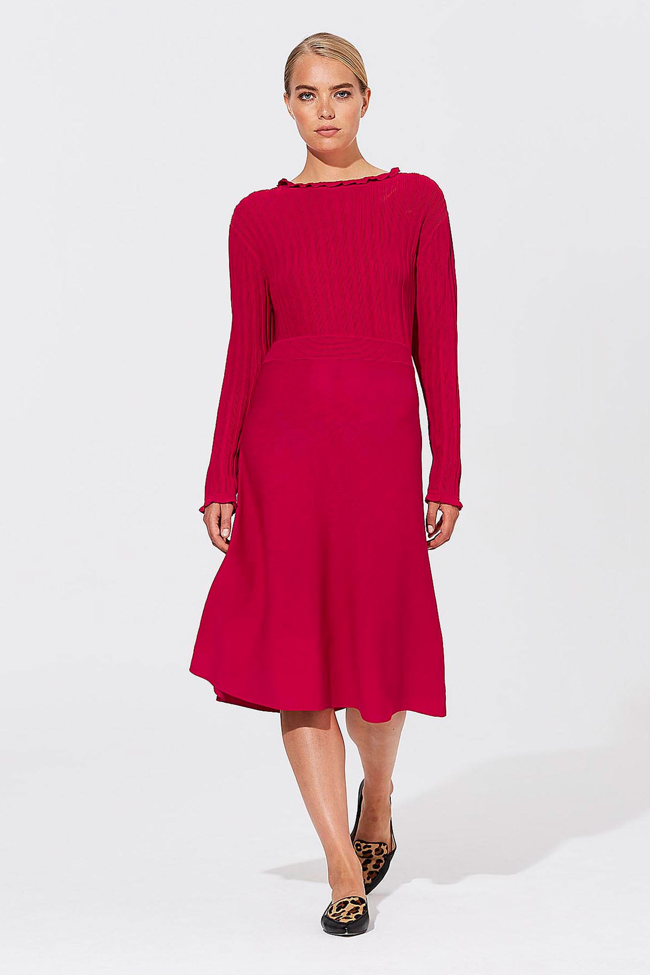 Karl Lagerfeld Paris Red Rib Knitted Dress