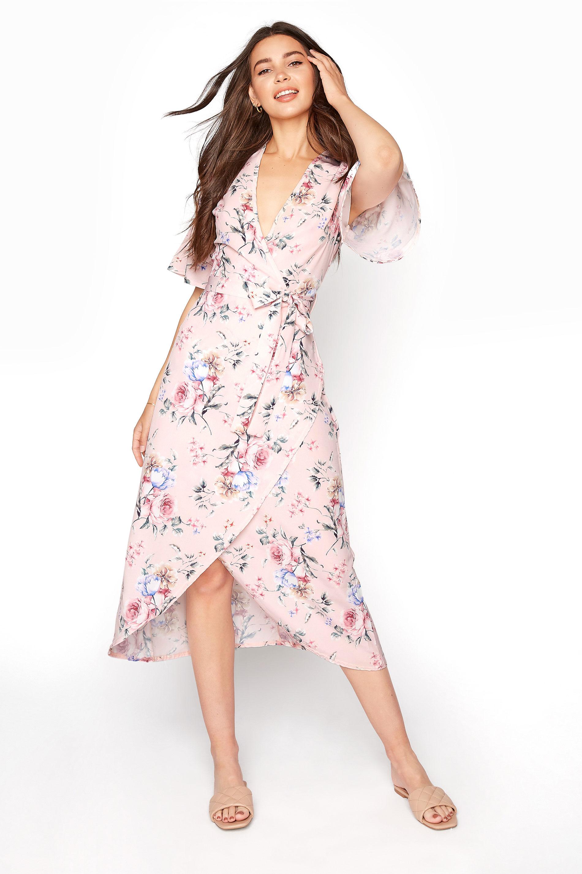 LTS Blush Pink Wrap Floral Dress