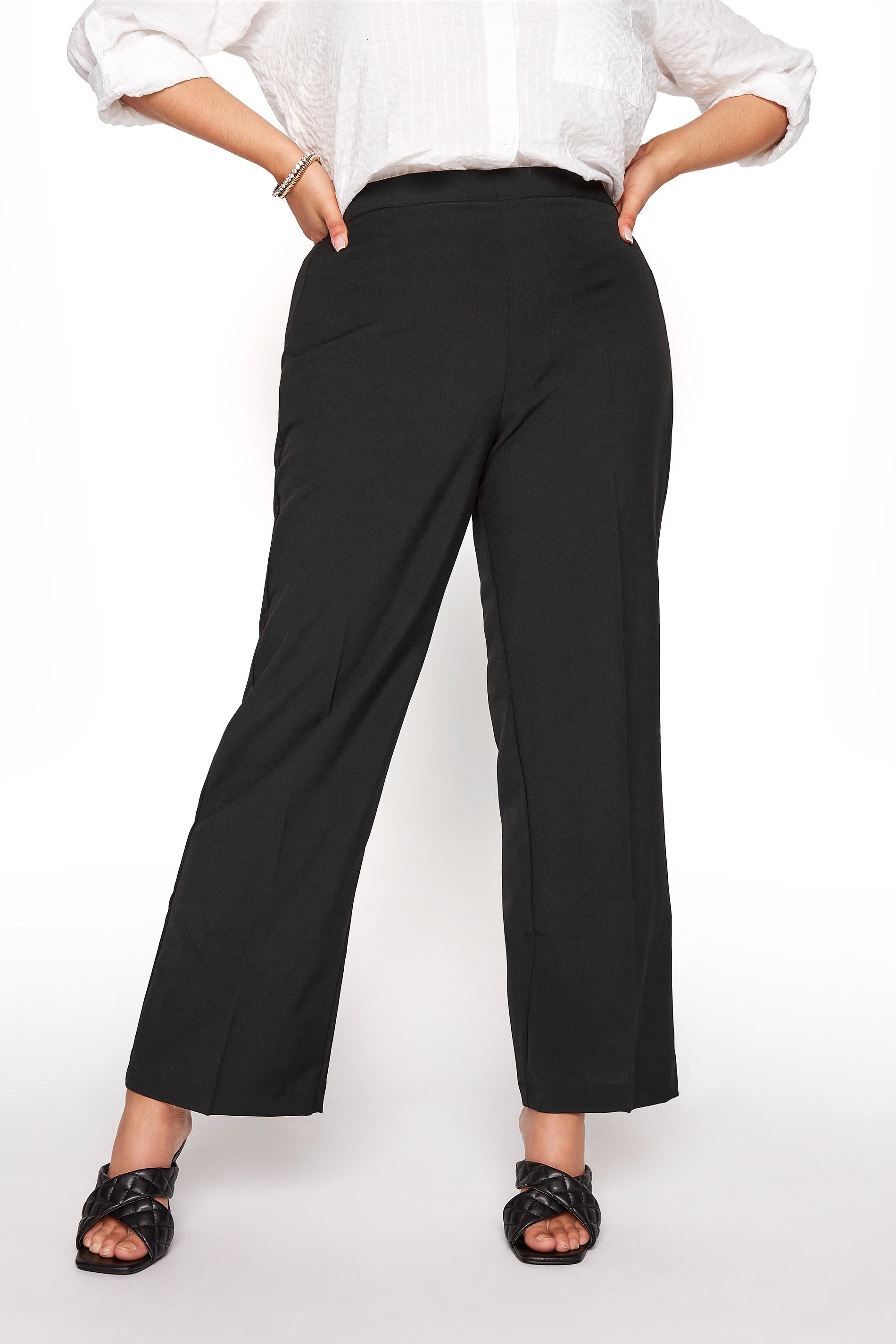 Black Classic Straight Leg Trousers With Elasticated Waistband_B.jpg