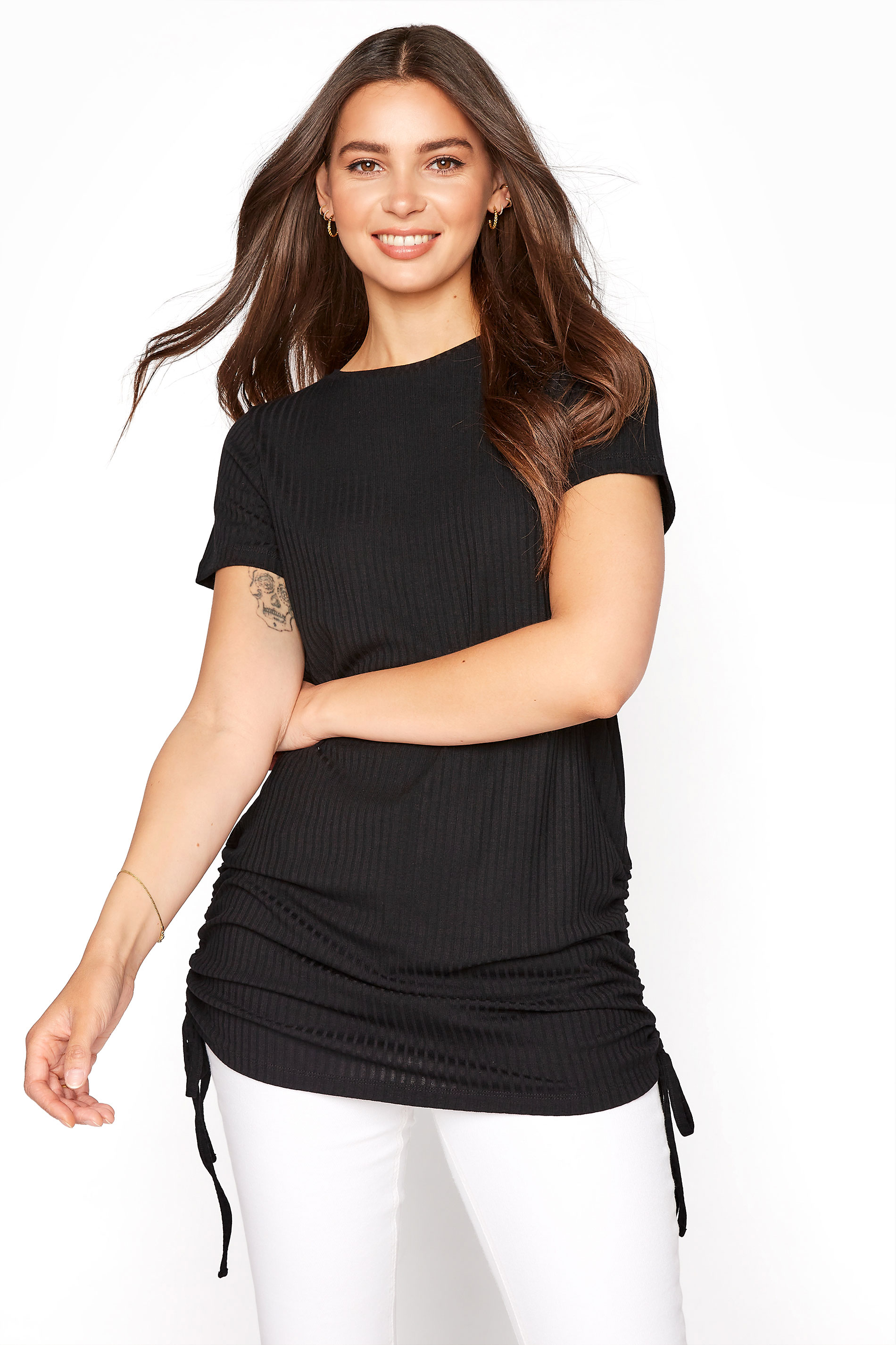 LTS Black Ribbed Ruched Side Tunic
