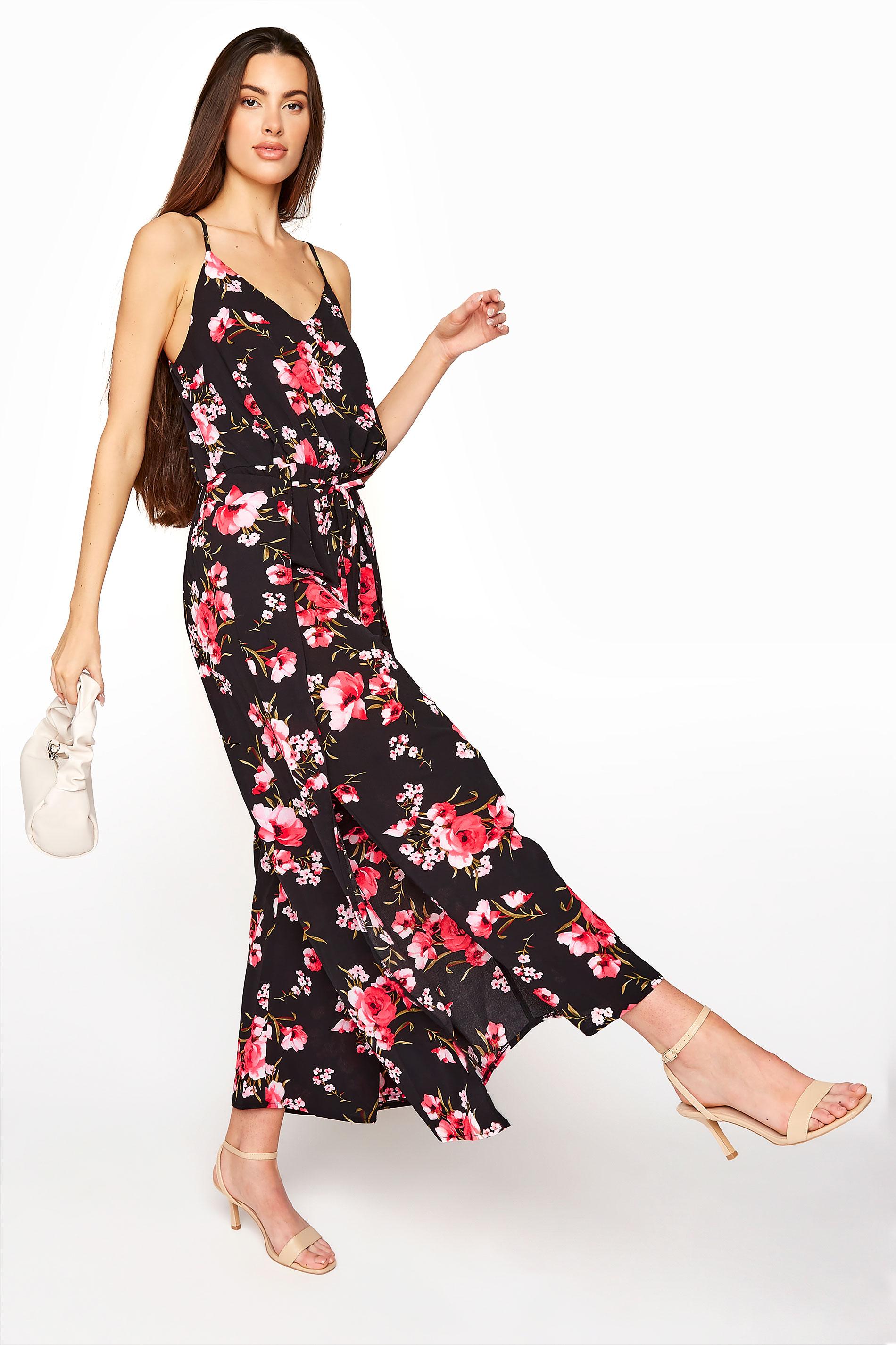 LTS Black Floral Wide Leg Strappy Jumpsuit