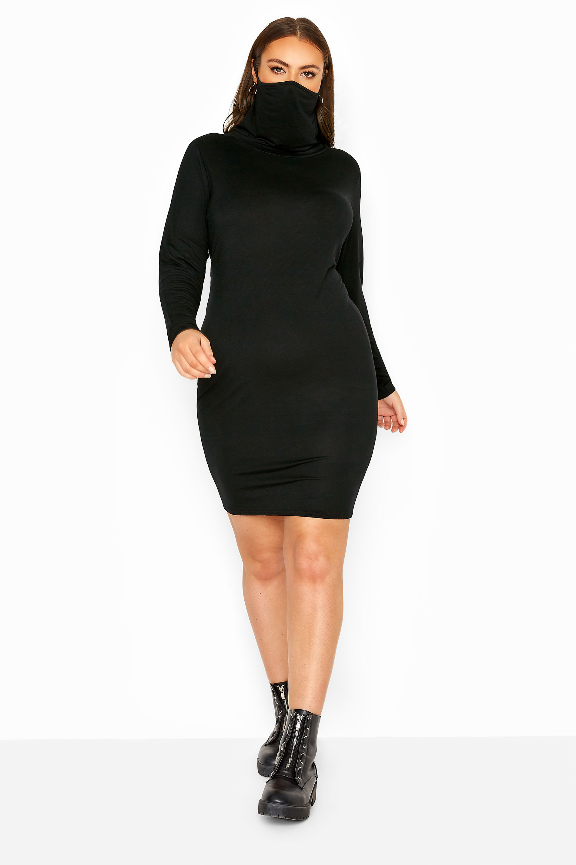 Black Jersey 2 in 1 Mask Bodycon Dress