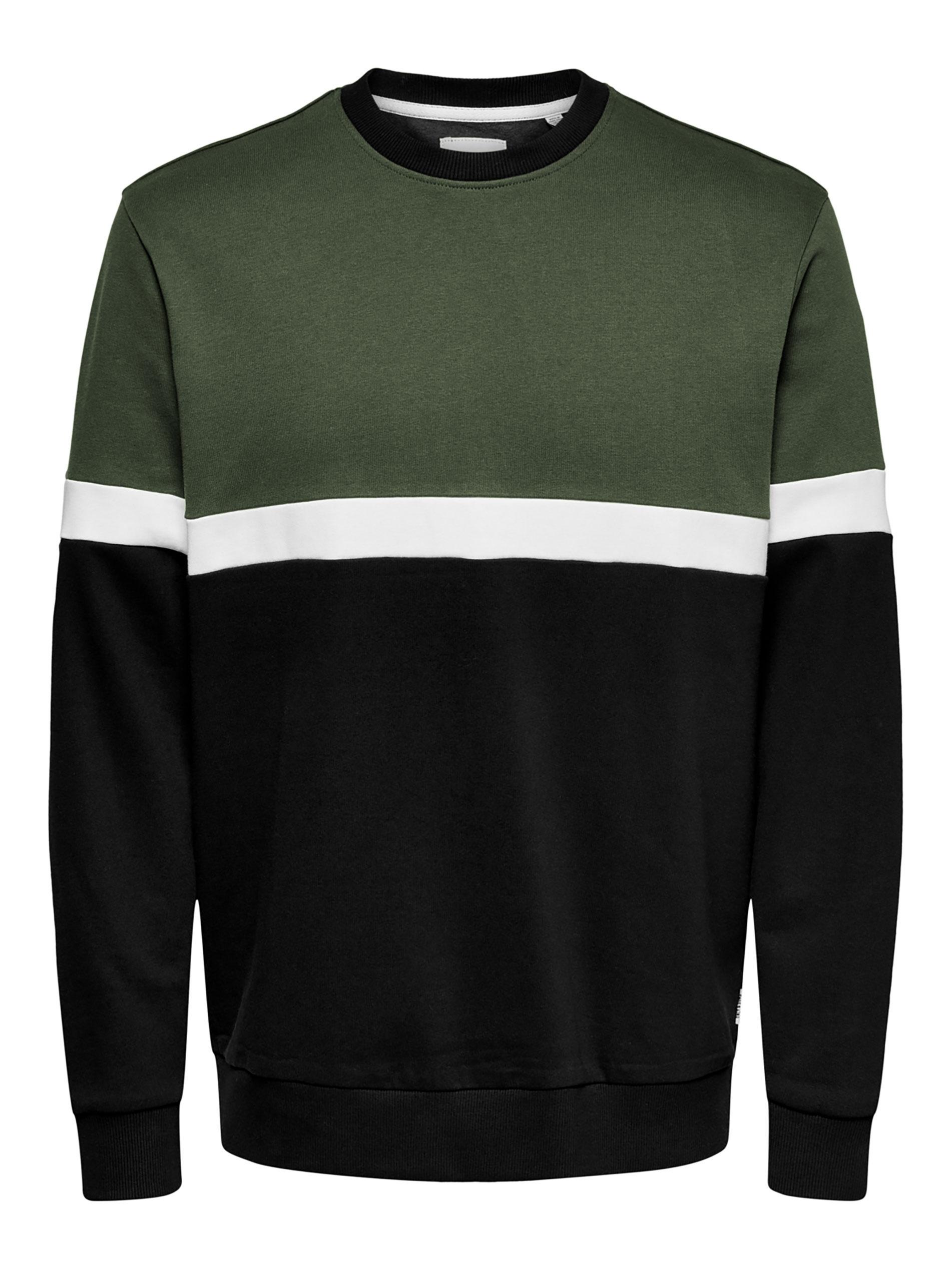 ONLY & SONS Khaki Colour Block Crew Neck Sweatshirt