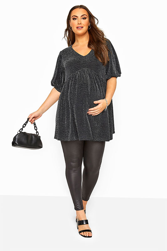 BUMP IT UP MATERNITY Black Metallic Smock Top