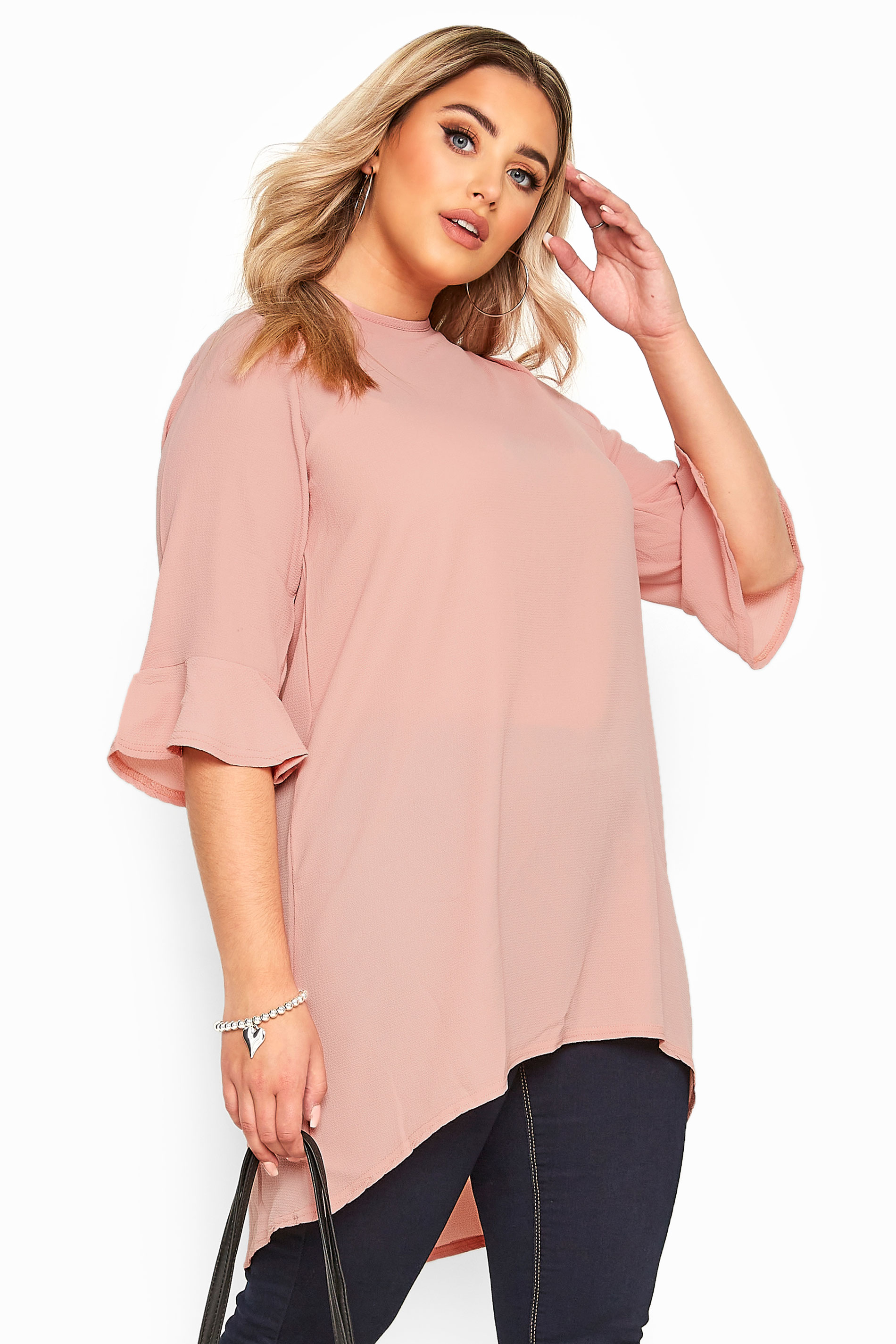 YOURS LONDON Blush Pink Flute Sleeve Tunic