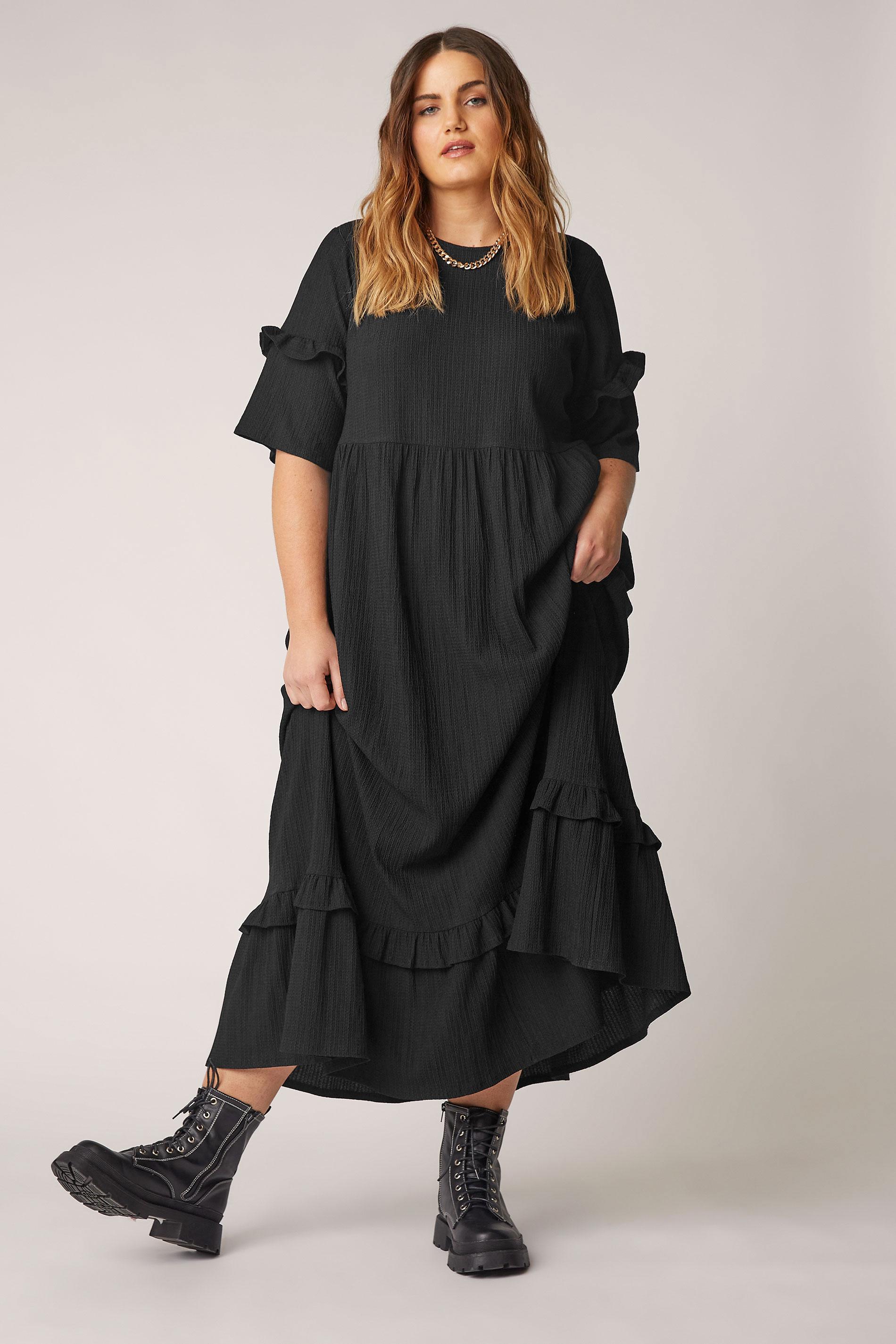 THE LIMITED EDIT Black Smock Midaxi Dress_A.jpg
