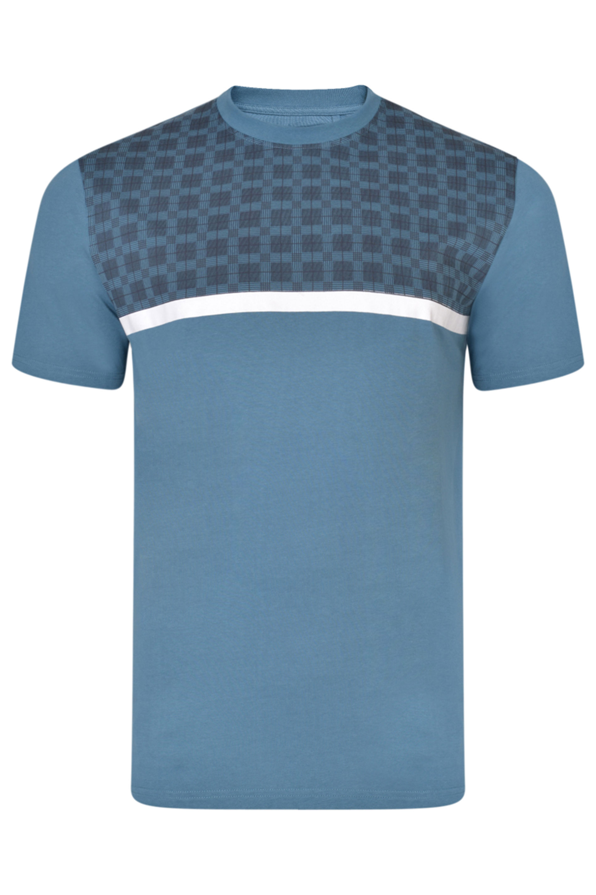 KAM Blue Check Colour Block T-Shirt