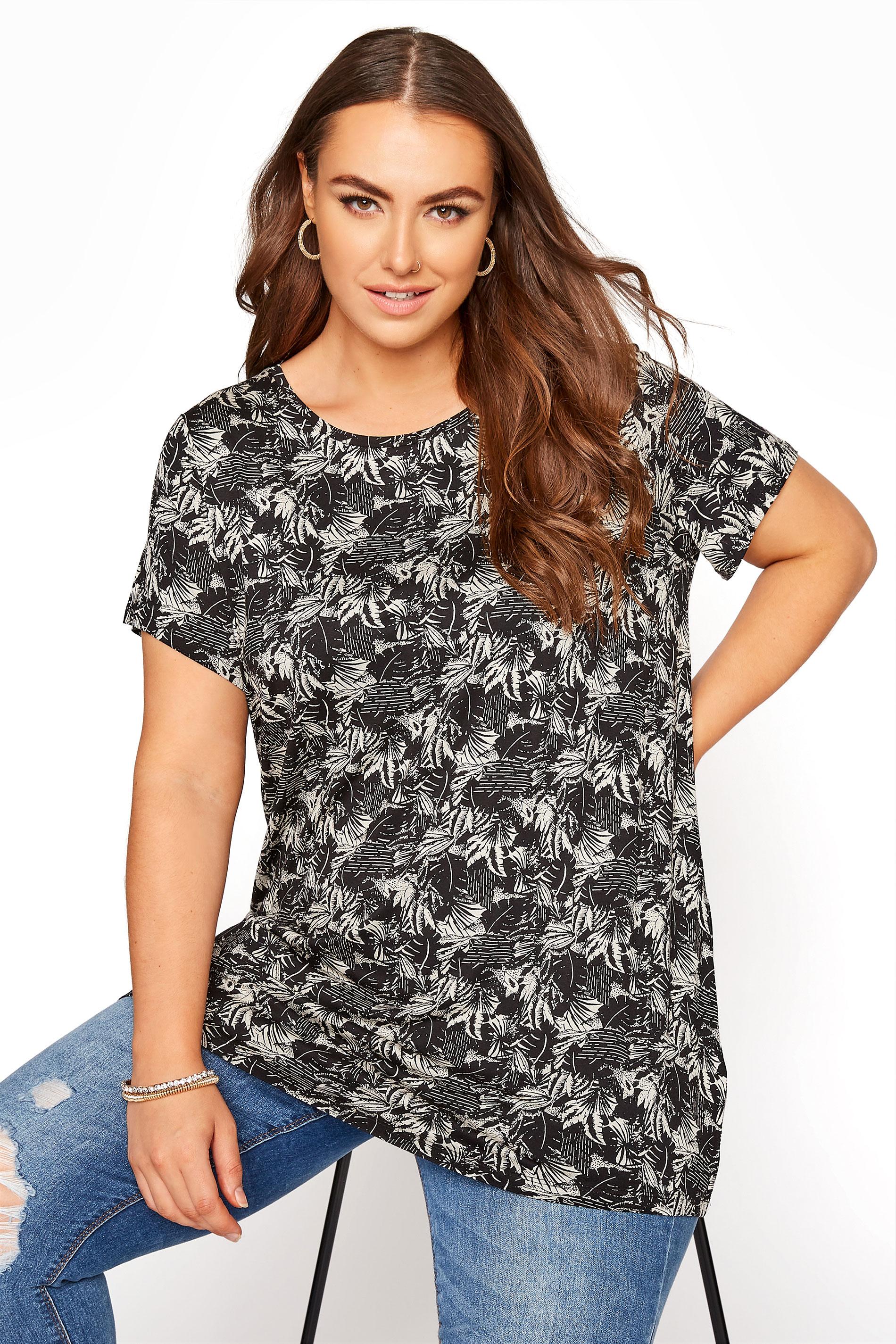 Black Leaf Print T-Shirt_A.jpg