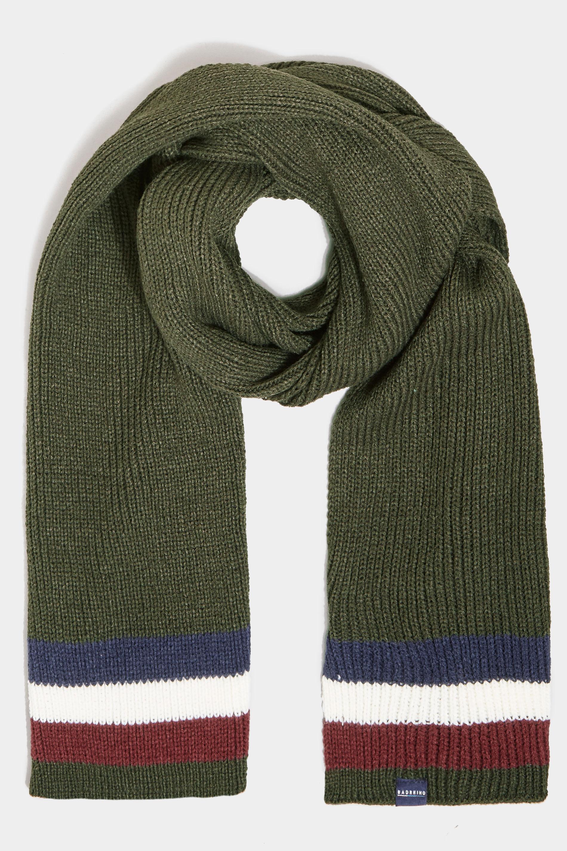 BadRhino Khaki Colour Block Knitted Scarf