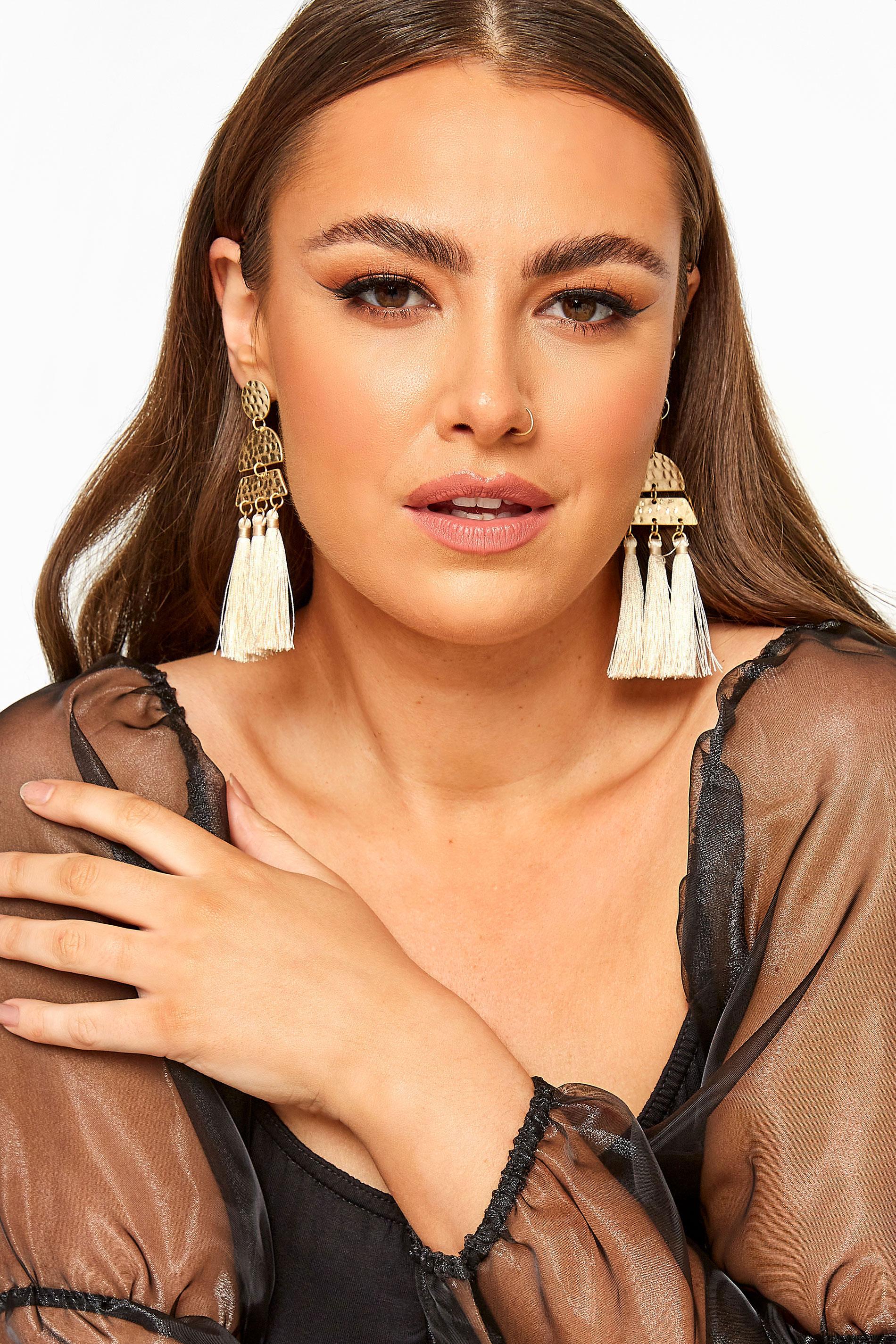 Gold Hammered Tassel Earrings_M.jpg