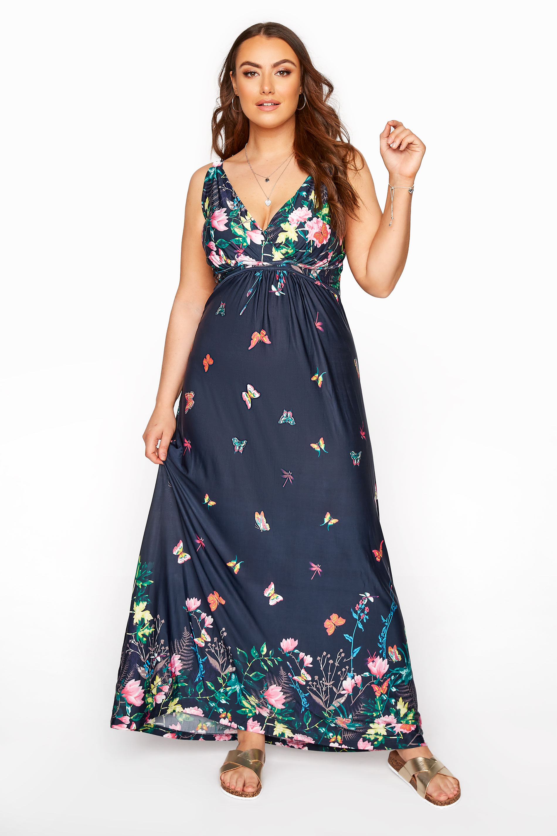 Navy Butterfly Maxi Dress