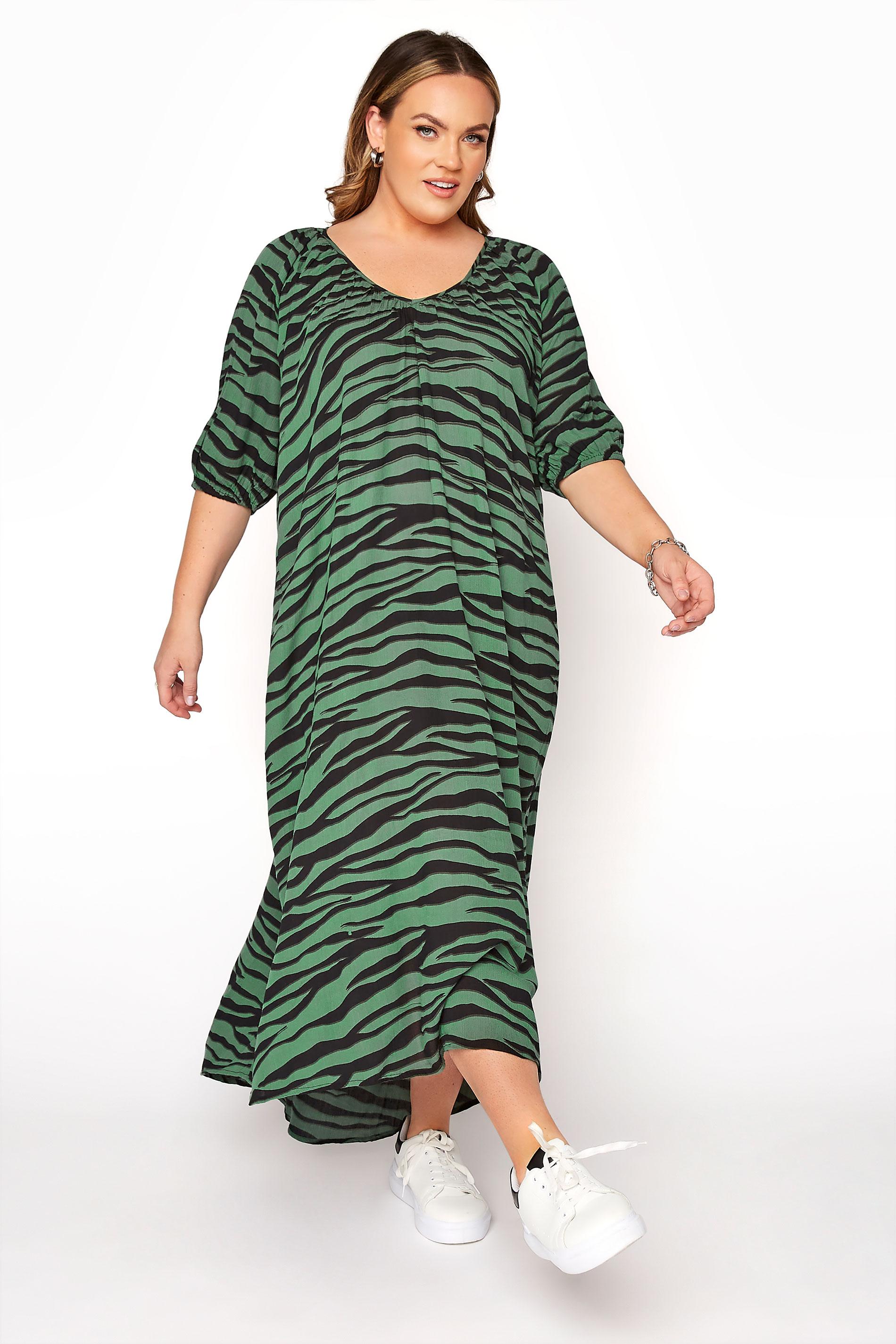 LIMITED COLLECTION Green Zebra Print Midaxi Dress_A.jpg