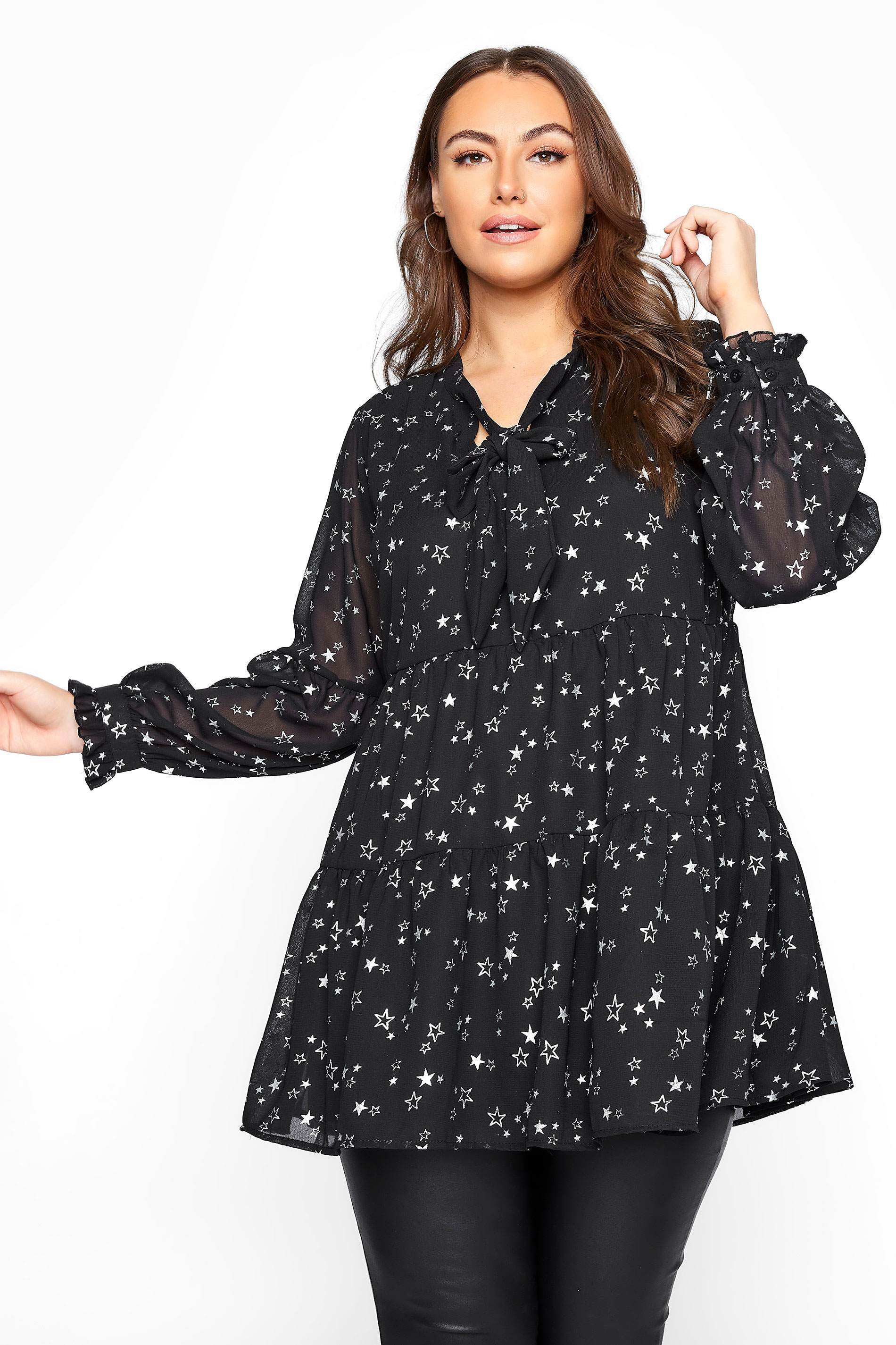 LIMITED COLLECTION Black Foil Star Tiered Bow Blouse