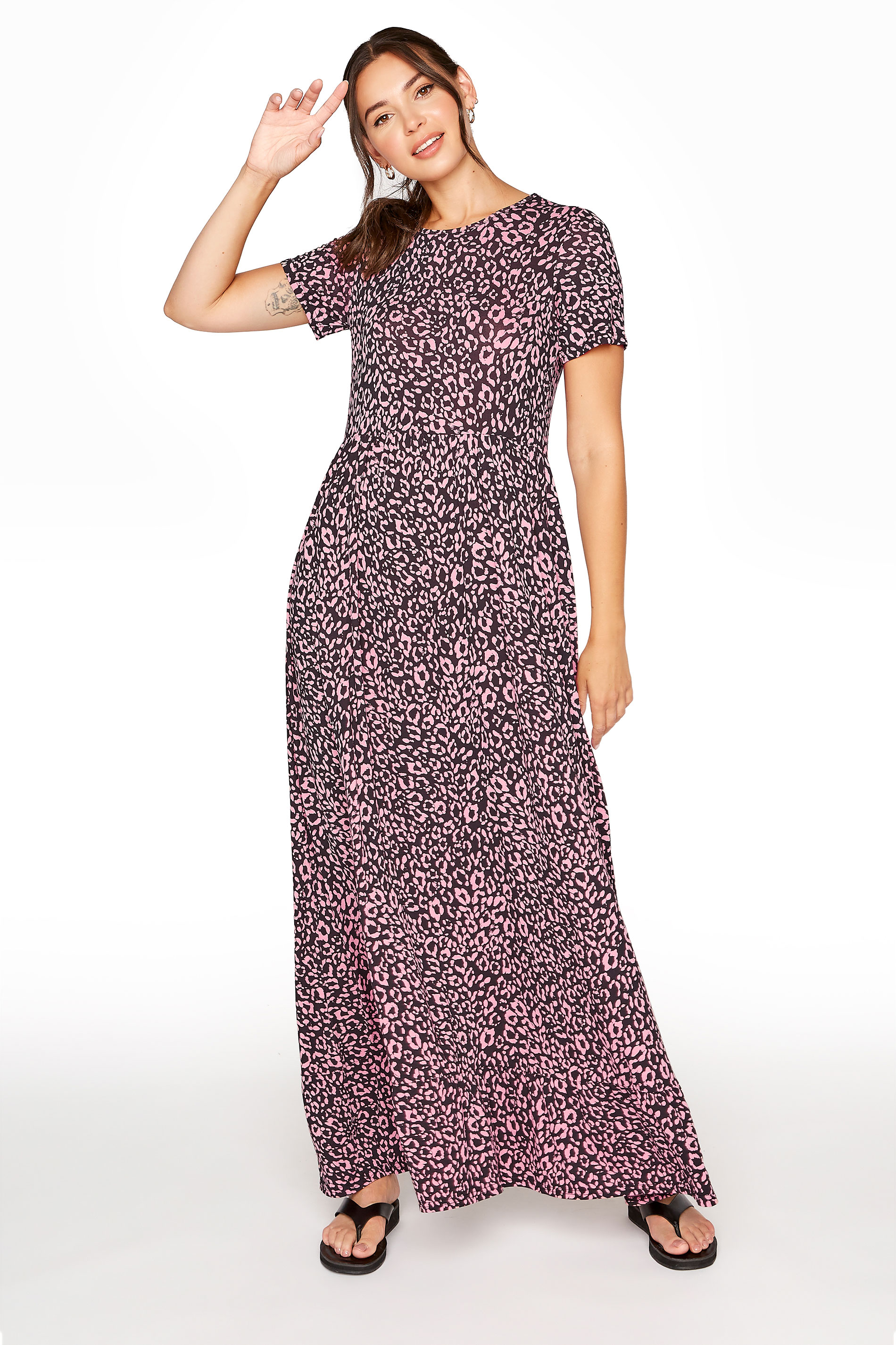 LTS Pink Animal Print Tiered Midaxi Dress_A.jpg
