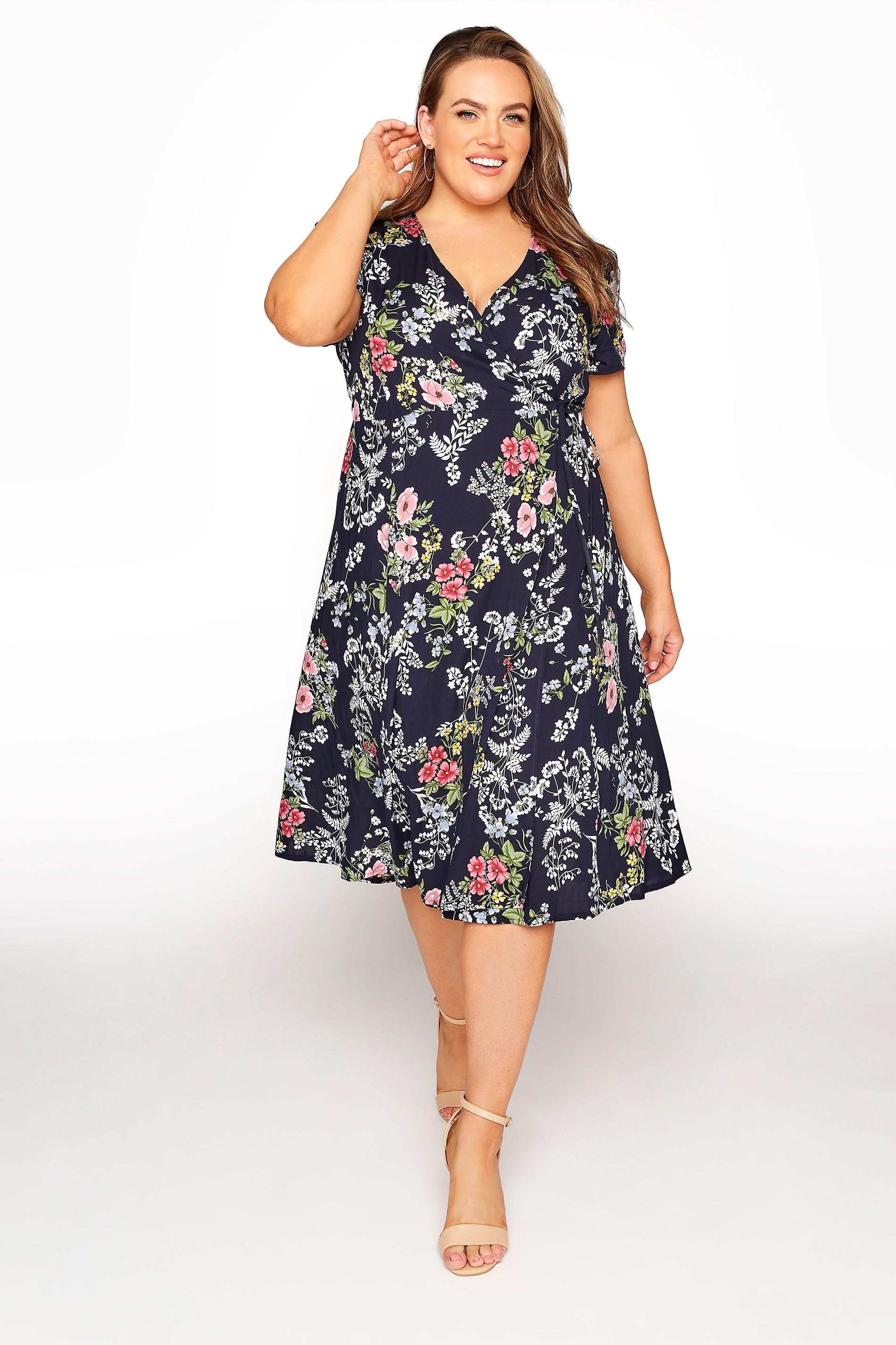 YOURS LONDON Navy Floral Wrap Midi Dress_A.jpg