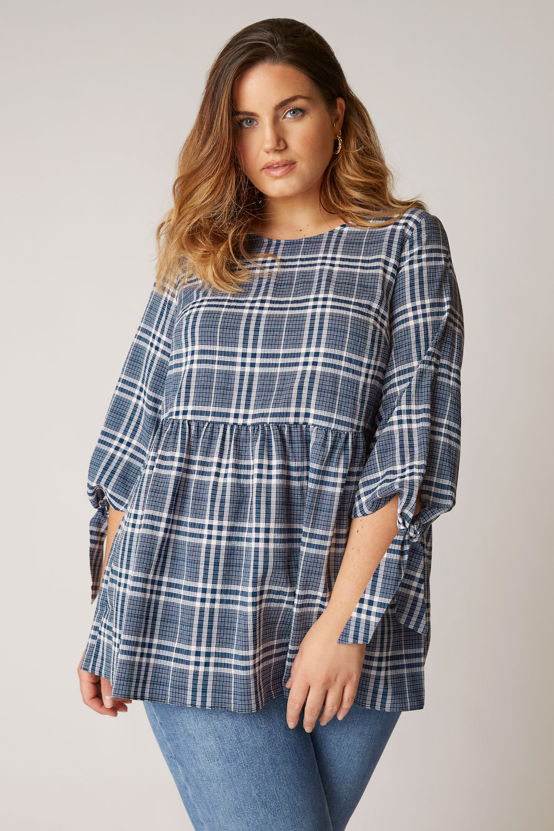 THE LIMITED EDIT Blue Check Tie Sleeve Peplum Blouse_A.jpg