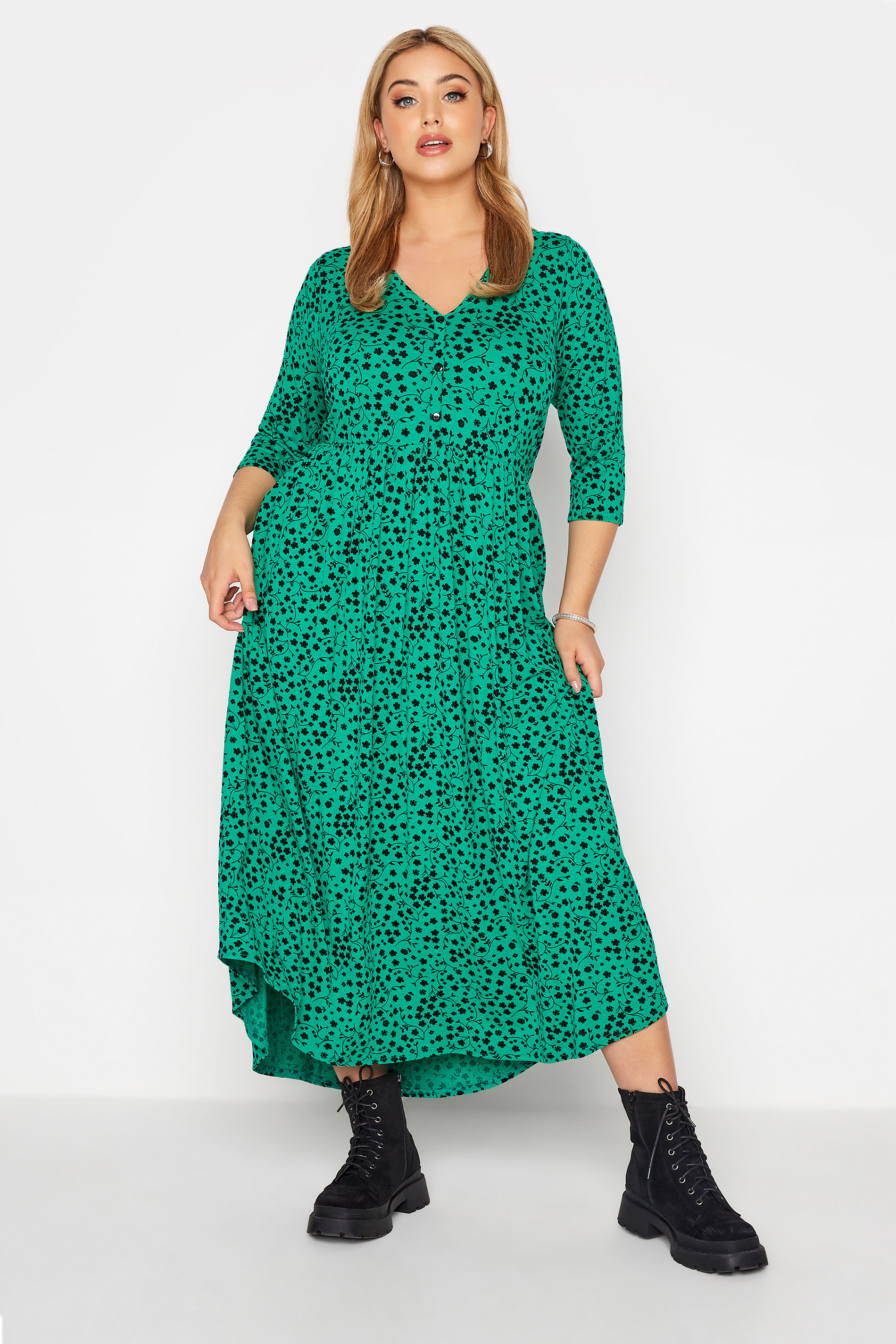 LIMITED COLLECTION Green Floral Button Midaxi Dress_A.jpg