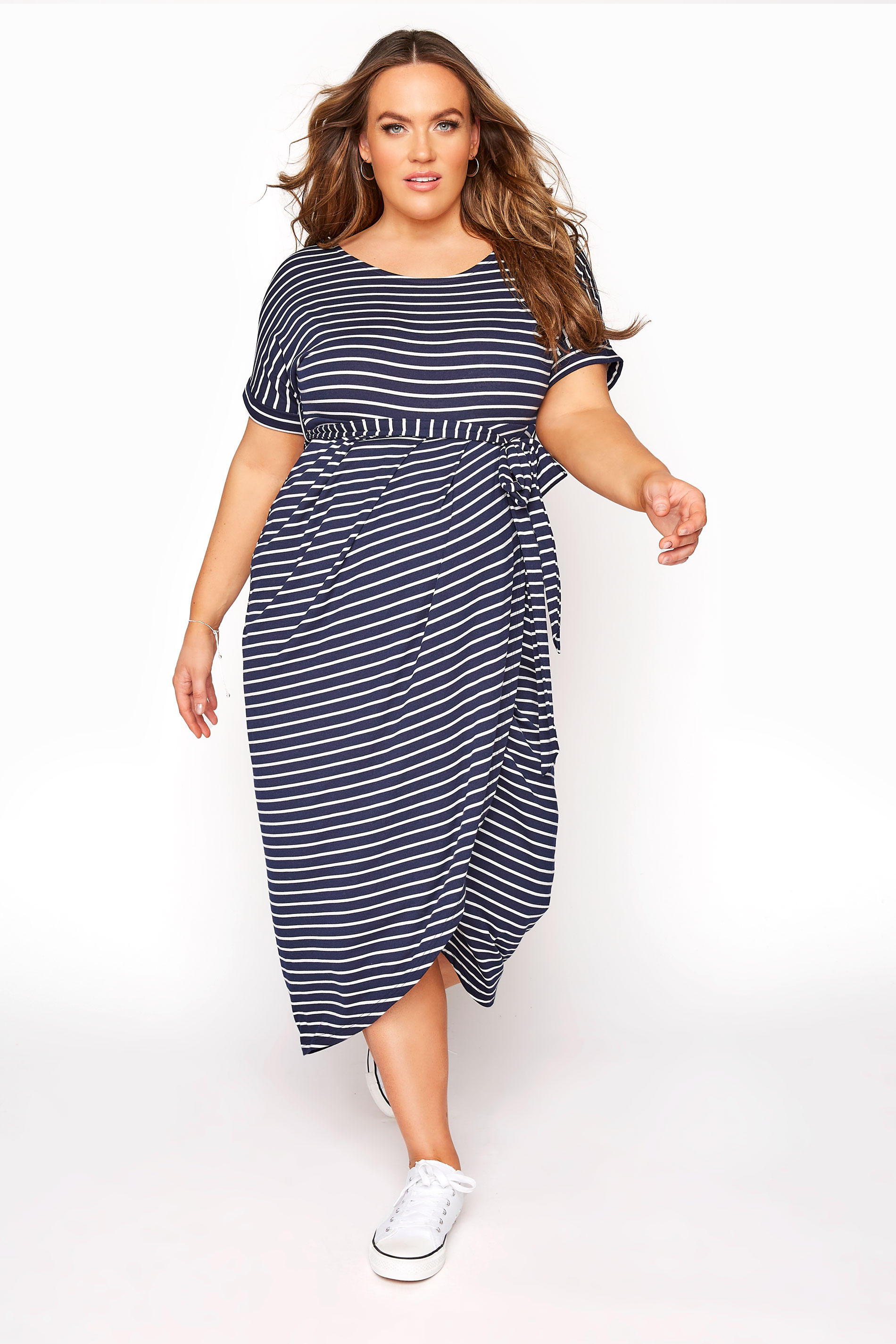 BUMP IT UP MATERNITY Navy & White Stripe Tie Waist Wrap Dress