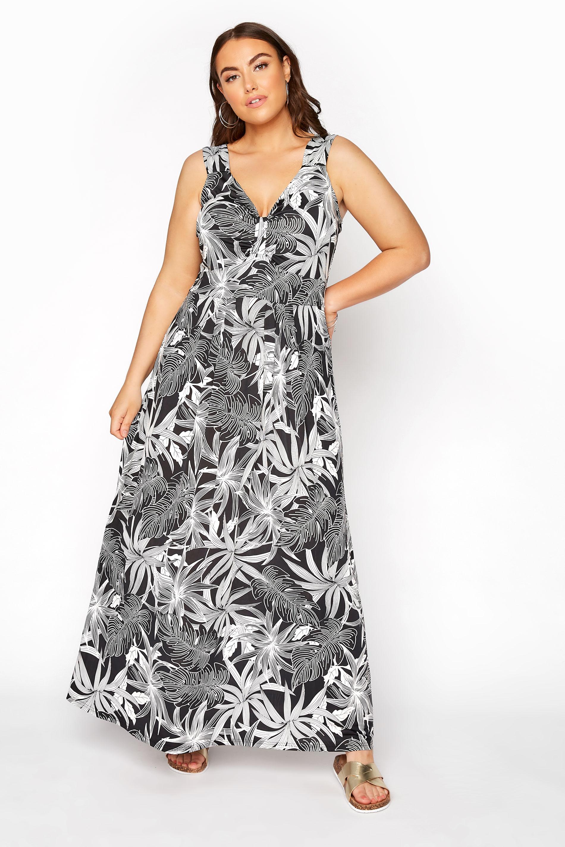 Black Tropical Bow Front Maxi Dress