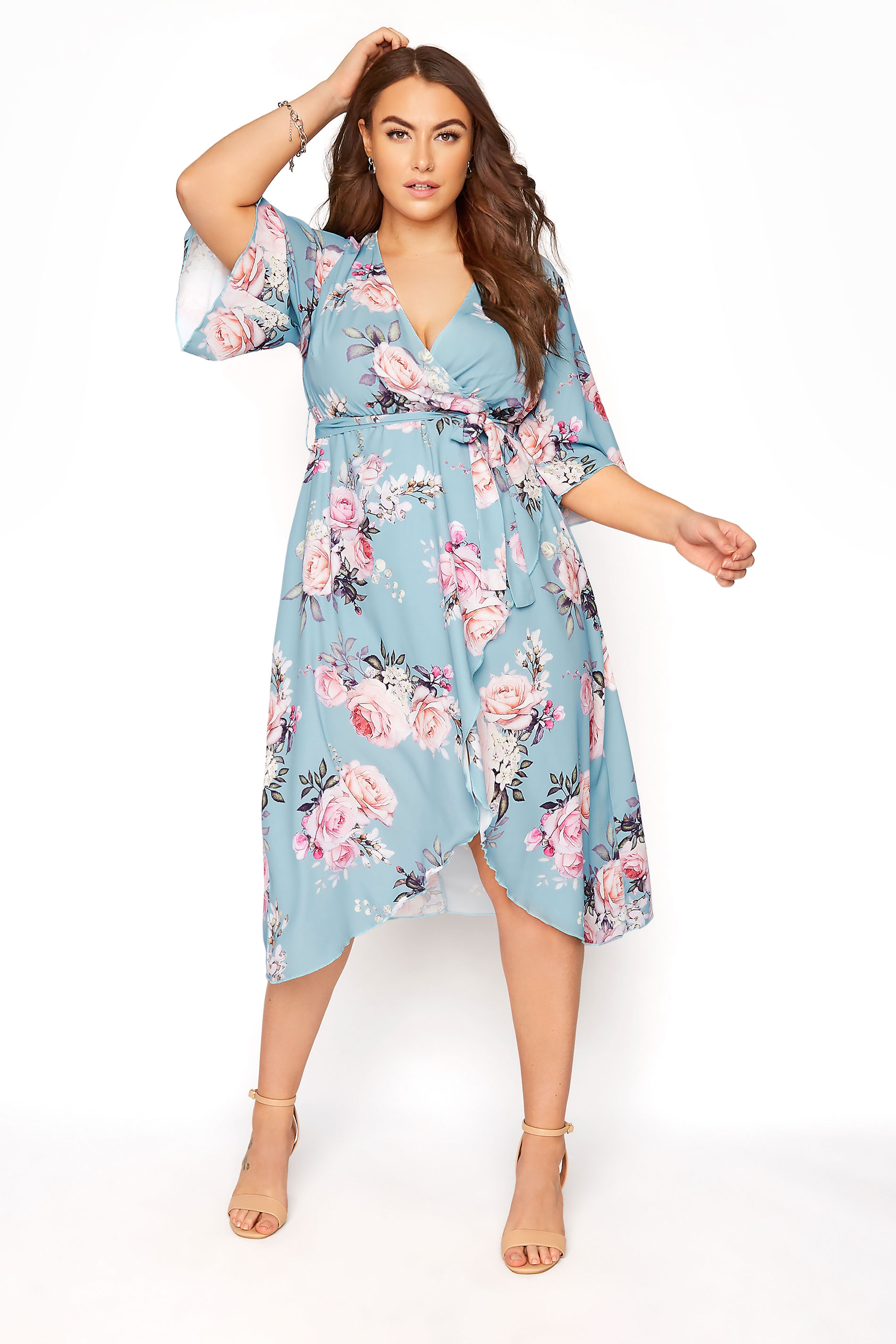YOURS LONDON Blue Floral Wrap Midi Dress_A.jpg
