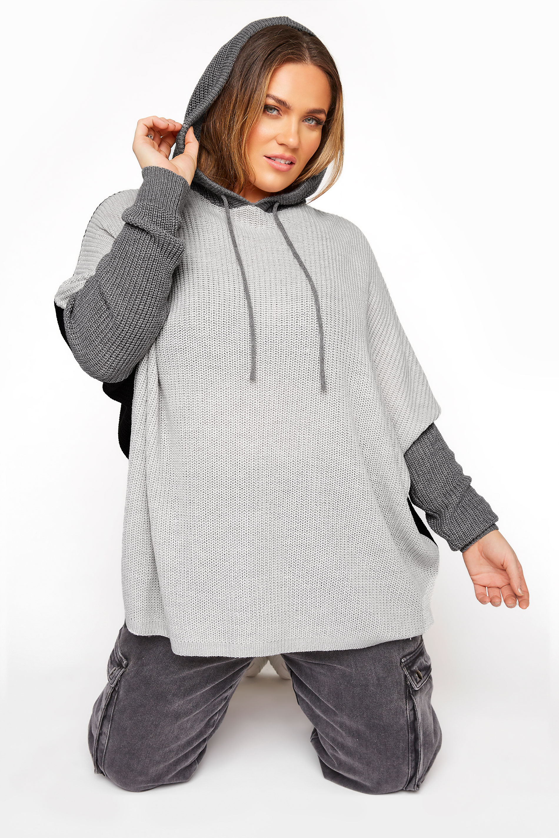 Grey Colour Block Oversized Knitted Hoodie