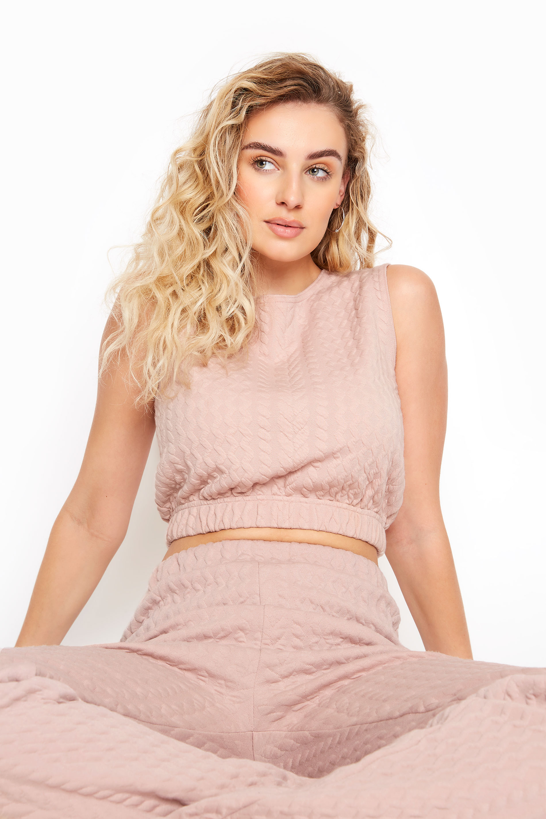 LTS Pink Cable Print Co-ord Sleeveless Sweatshirt