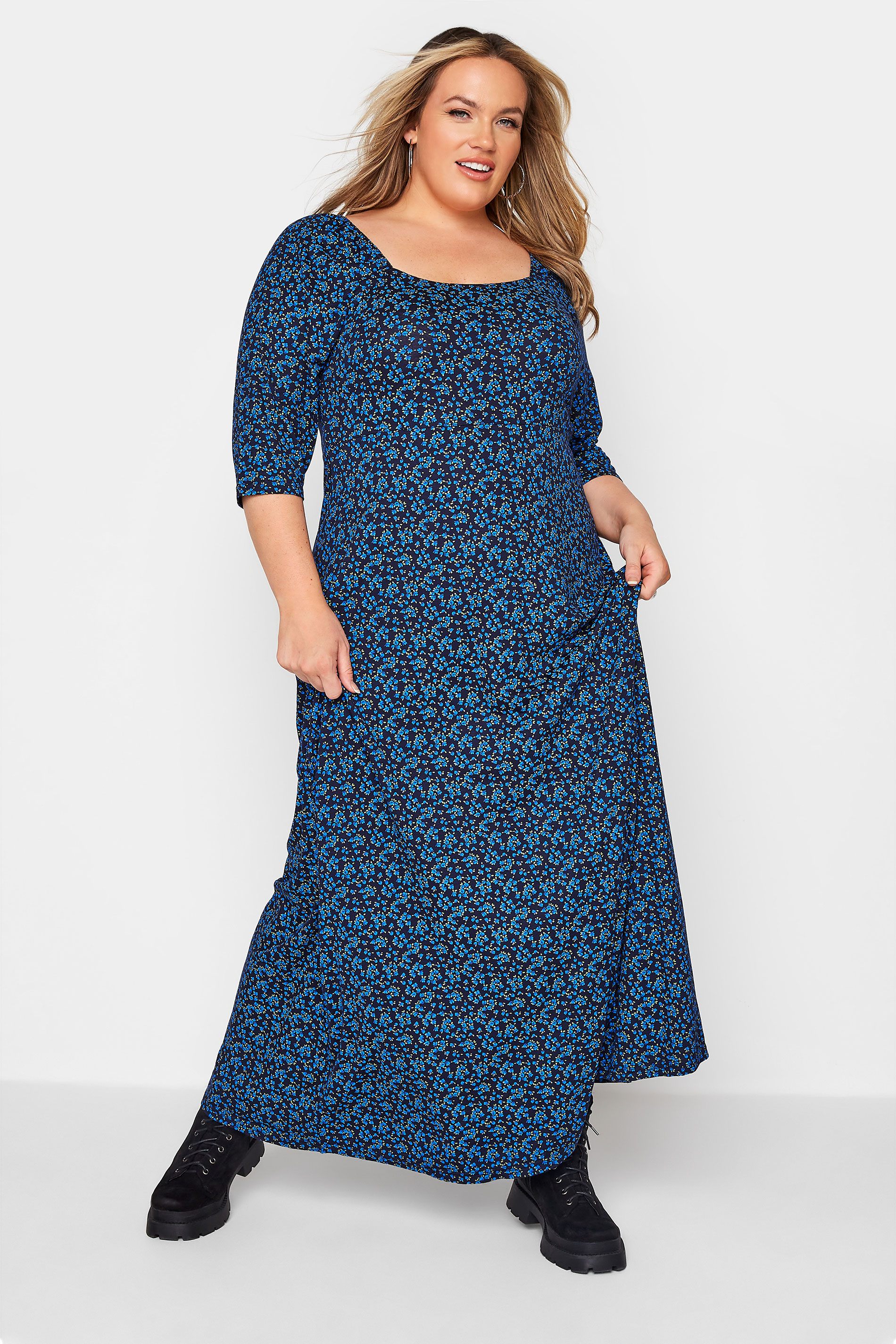 LIMITED COLLECTION Cobalt Blue Ditsy Maxi Dress_A.jpg
