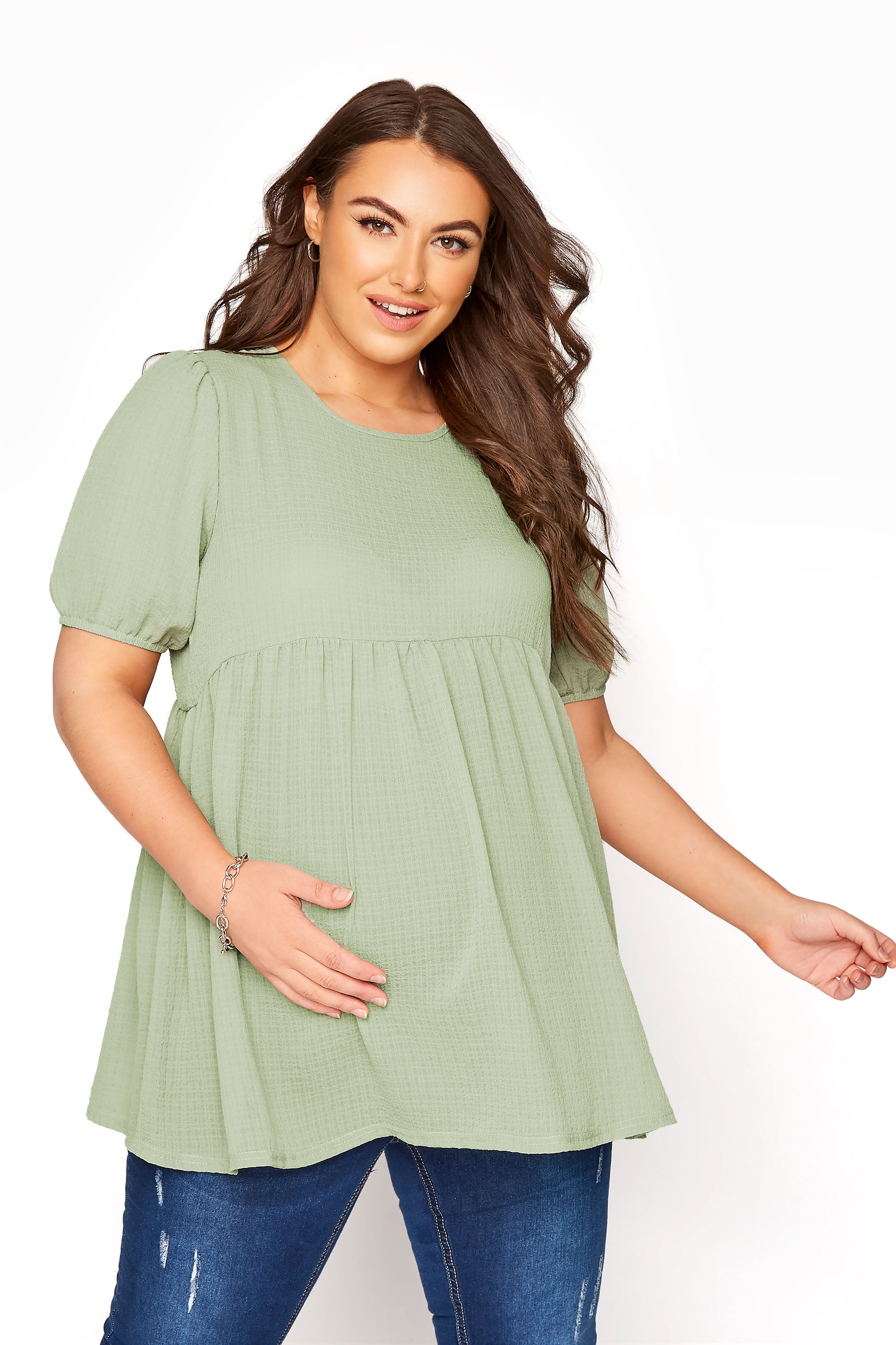 BUMP IT UP MATERNITY Sage Green Textured Puff Sleeve Smock Top_A.jpg