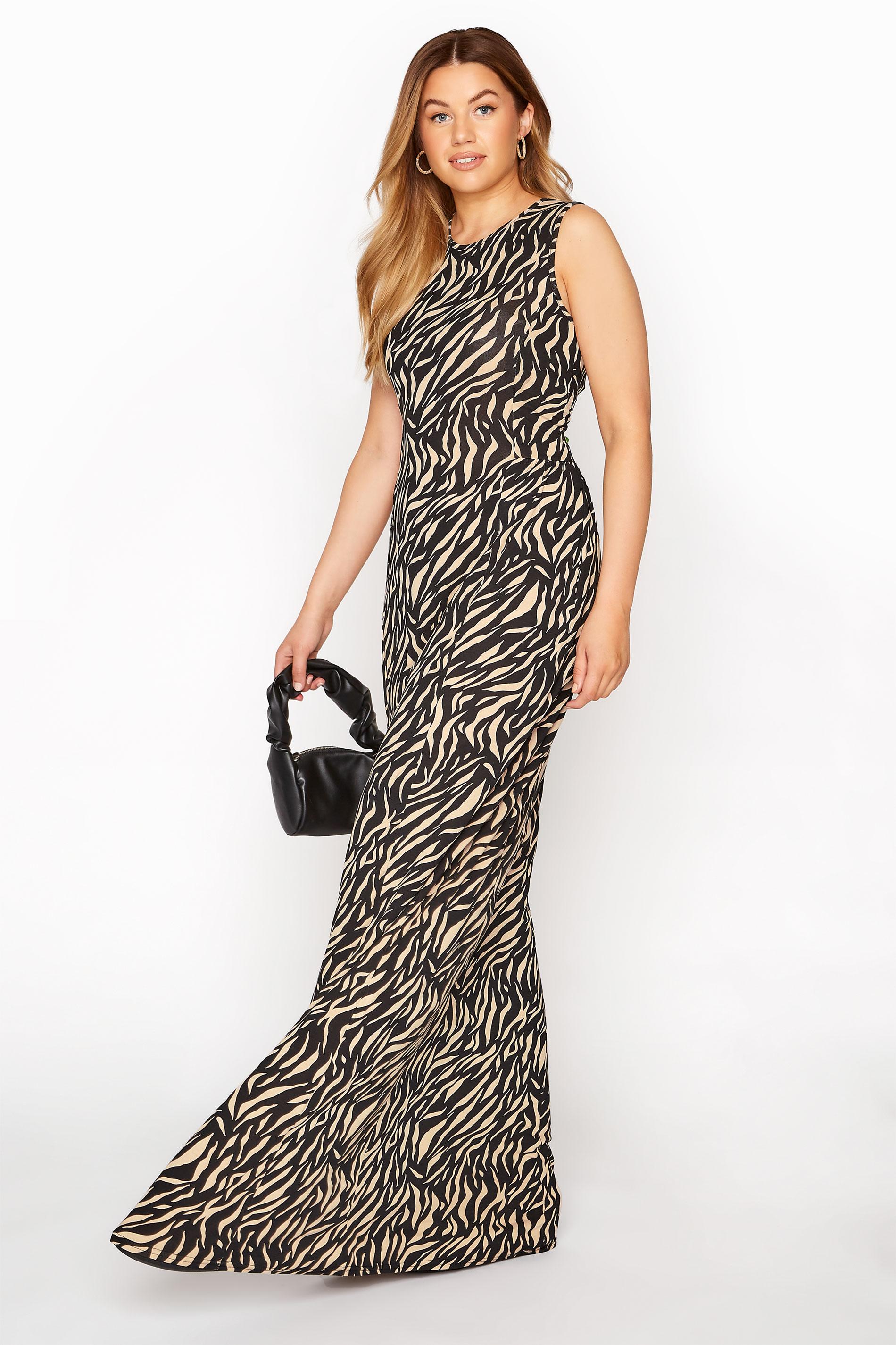 LTS Black Zebra Print Maxi Dress