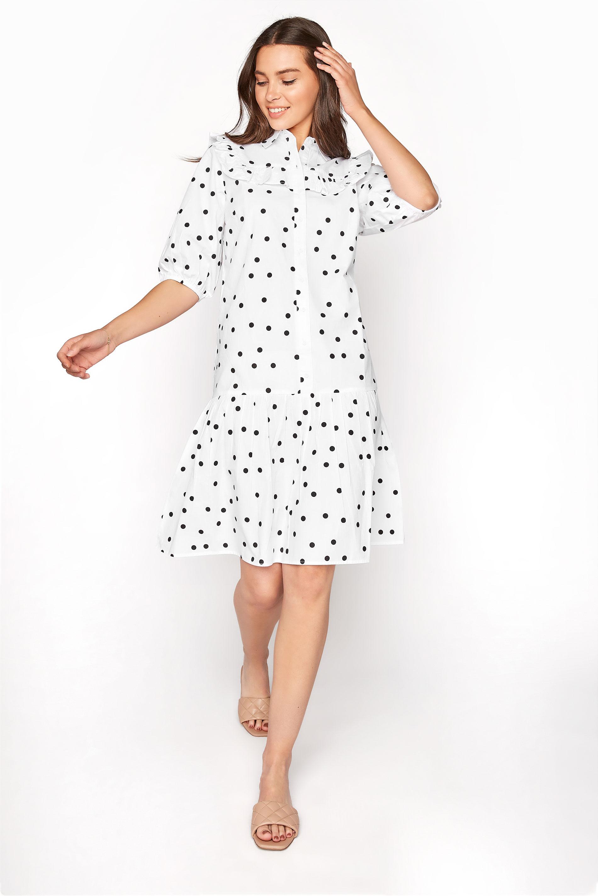 LTS White Polka Dot Puff Sleeve Dress
