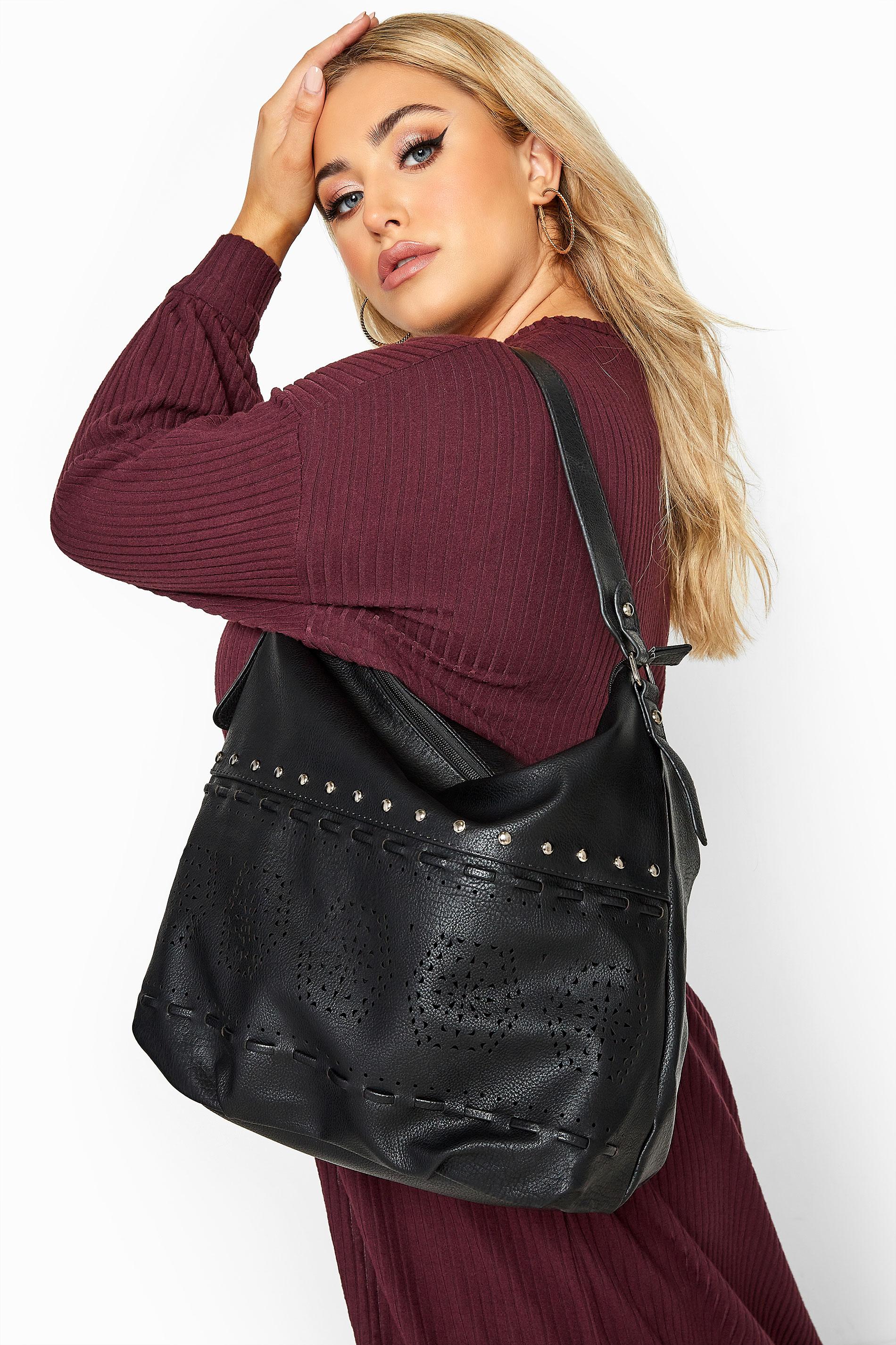 Black Faux Vegan Leather Stud Laser Cut Shoulder Bag