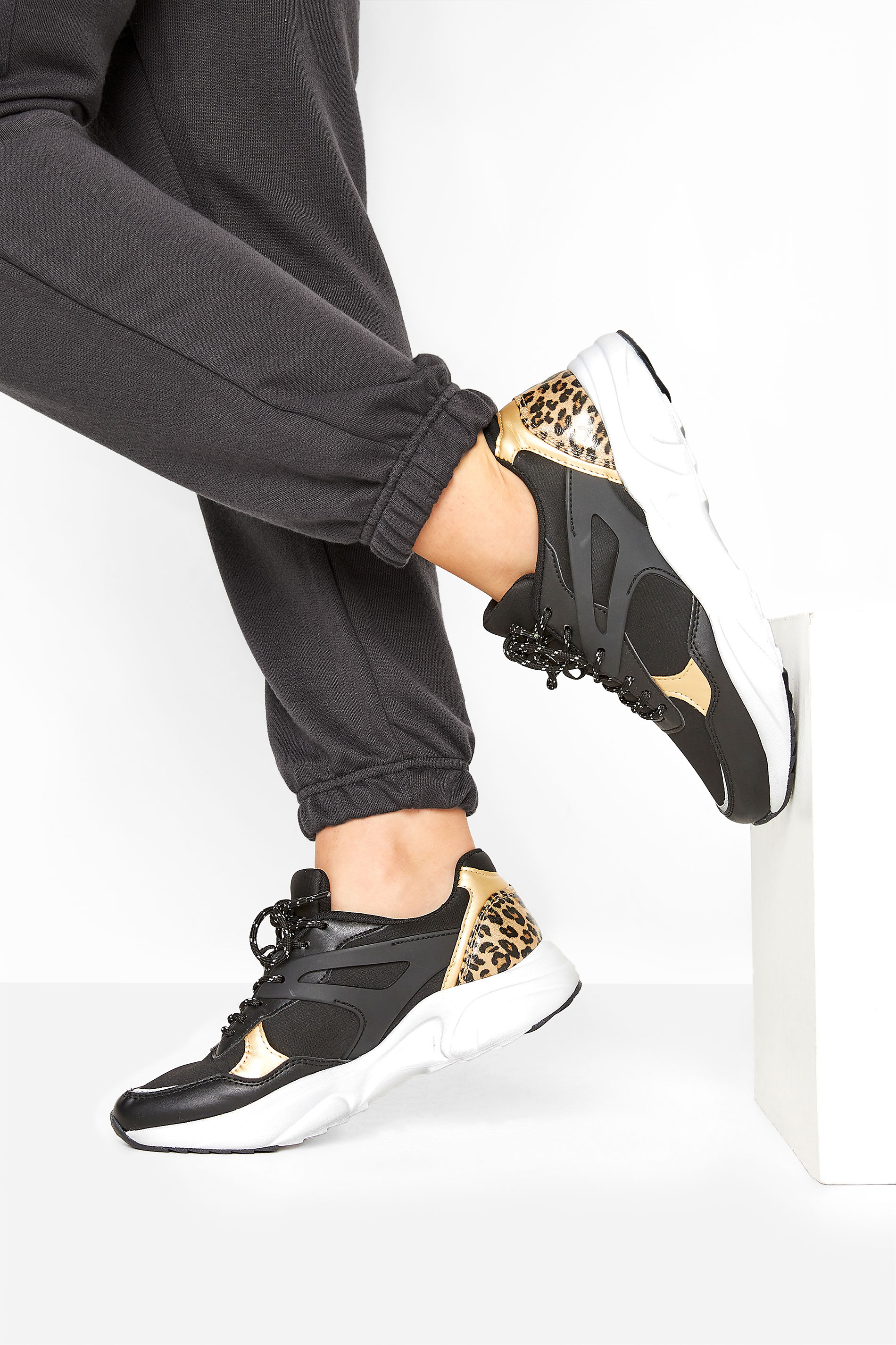 LIMITED COLLECTION Black Leopard Print Contrast Trainers In Wide Fit