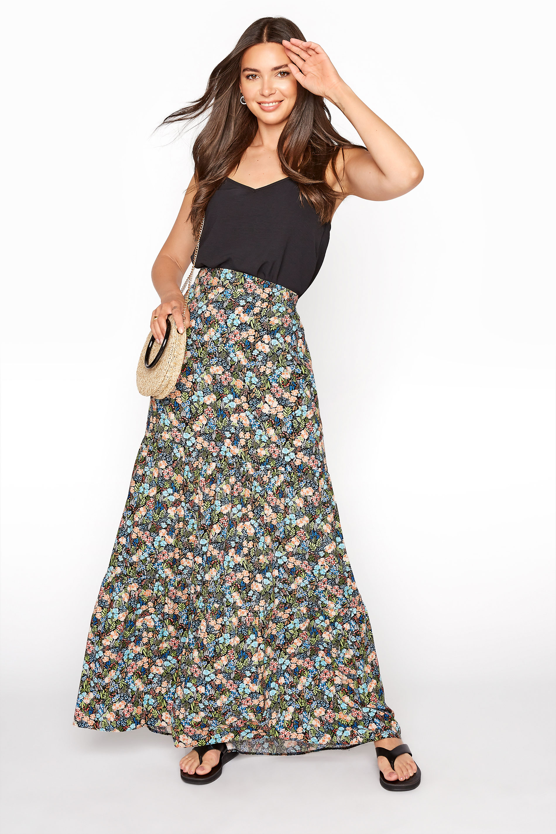LTS Multi Floral Tiered Maxi Skirt