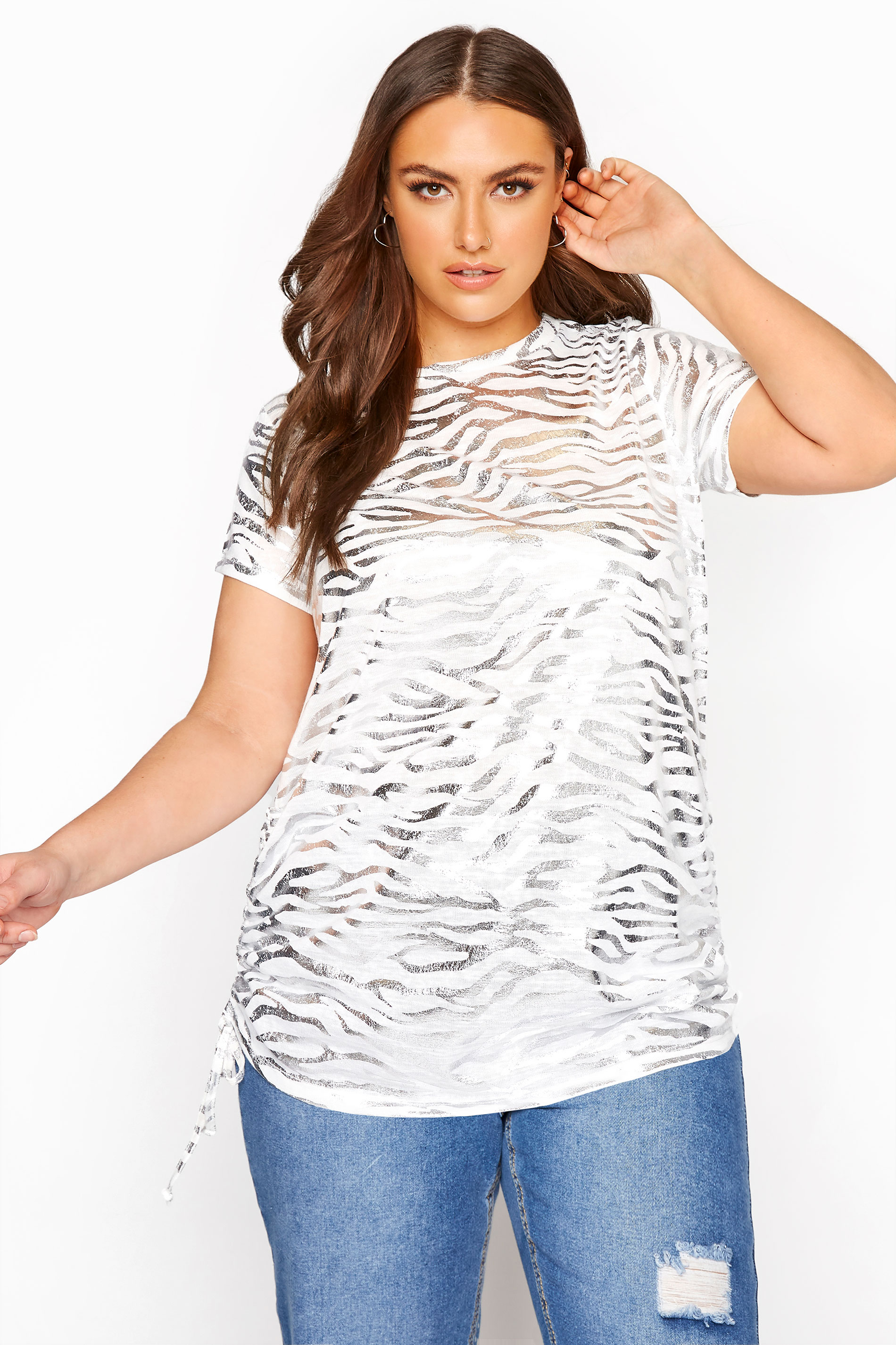 White Animal Foil Ruched Side Seam Top