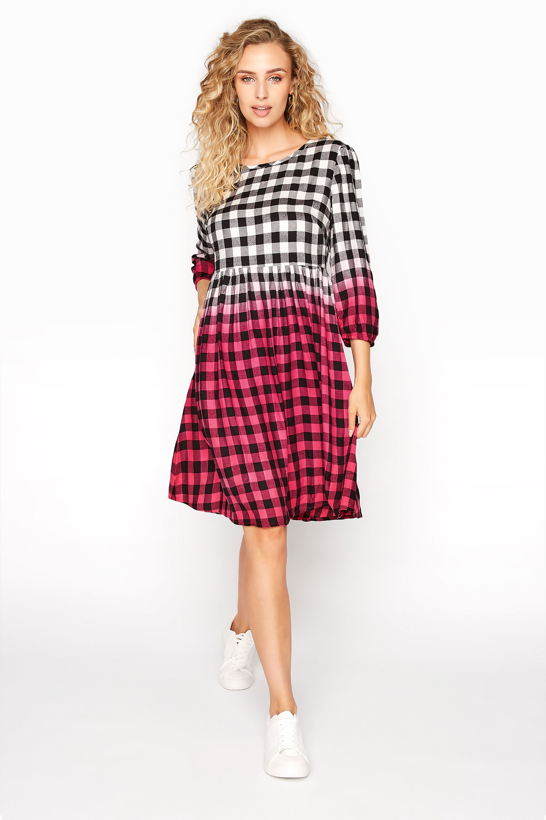 LTS Pink Ombre Check Smock Dress