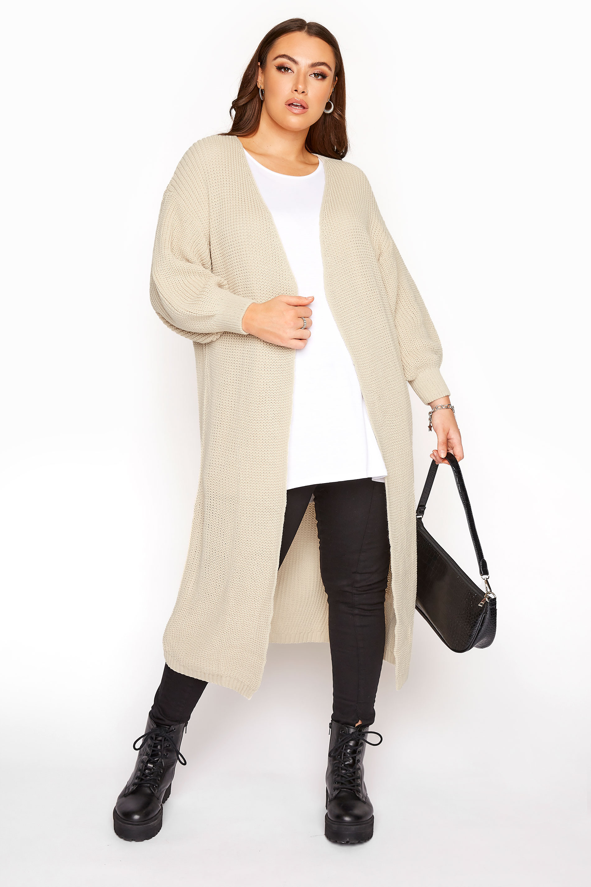 Stone Balloon Sleeve Maxi Knitted Cardigan