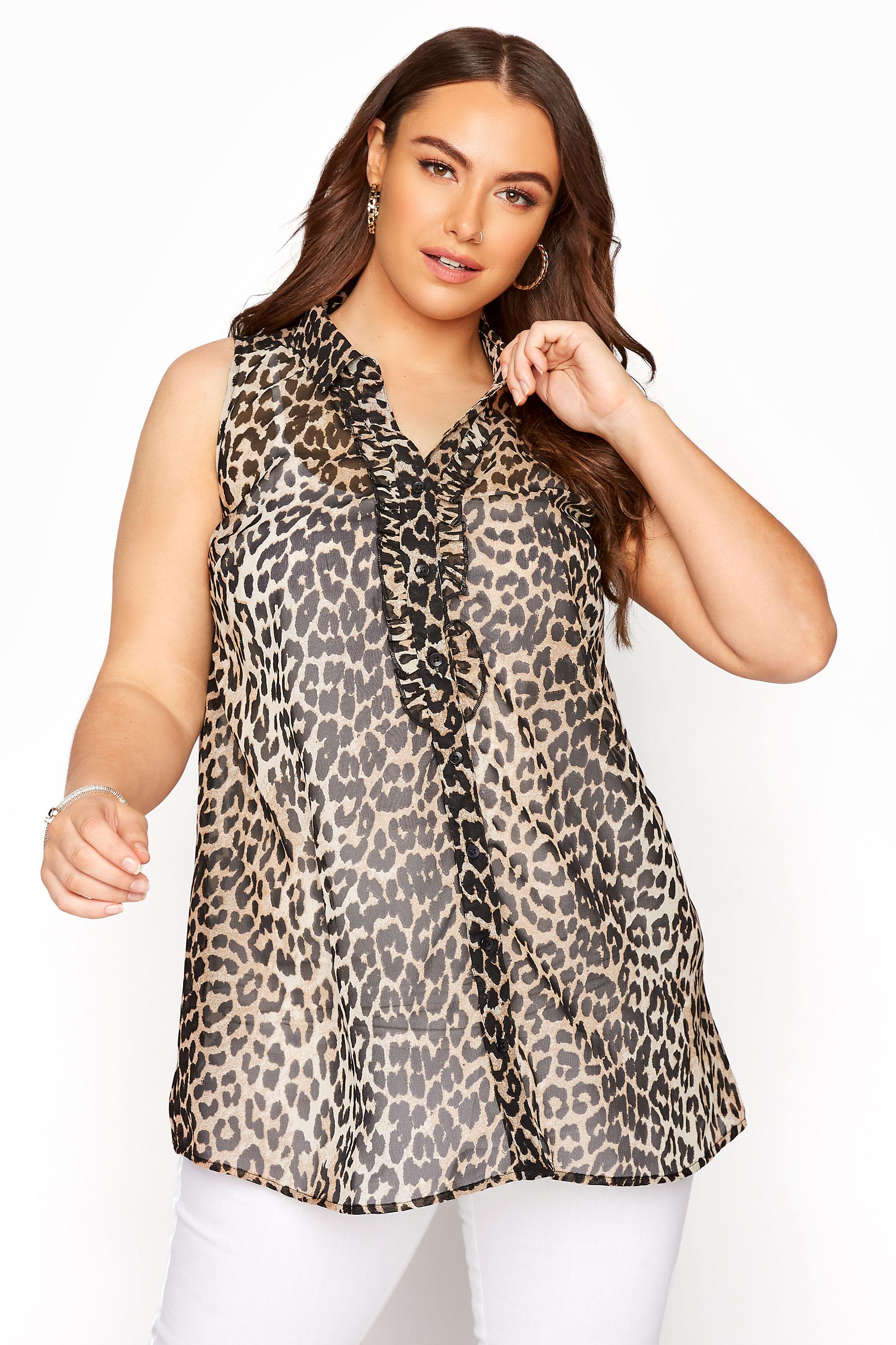 Leopard Print Frill Front Sleeveless Shirt_A.jpg