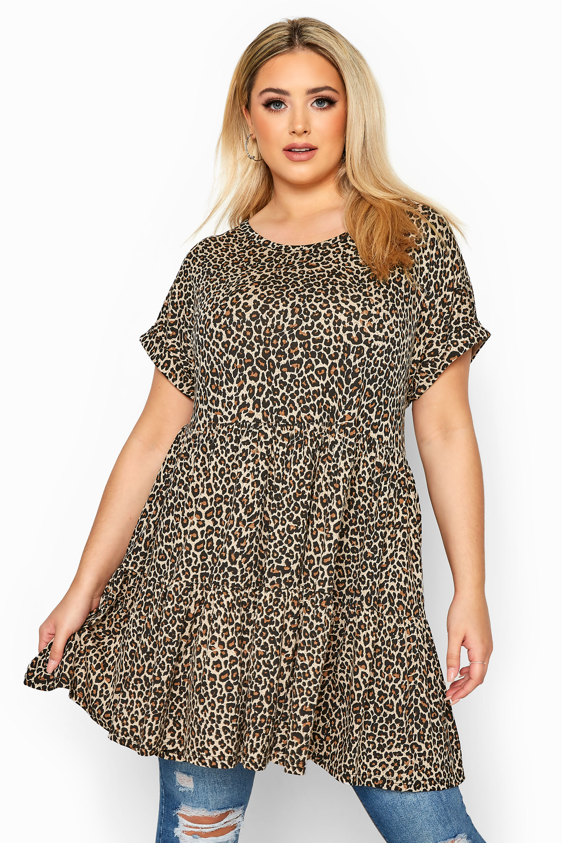 Brown Animal Print Tiered Peplum Smock Tunic