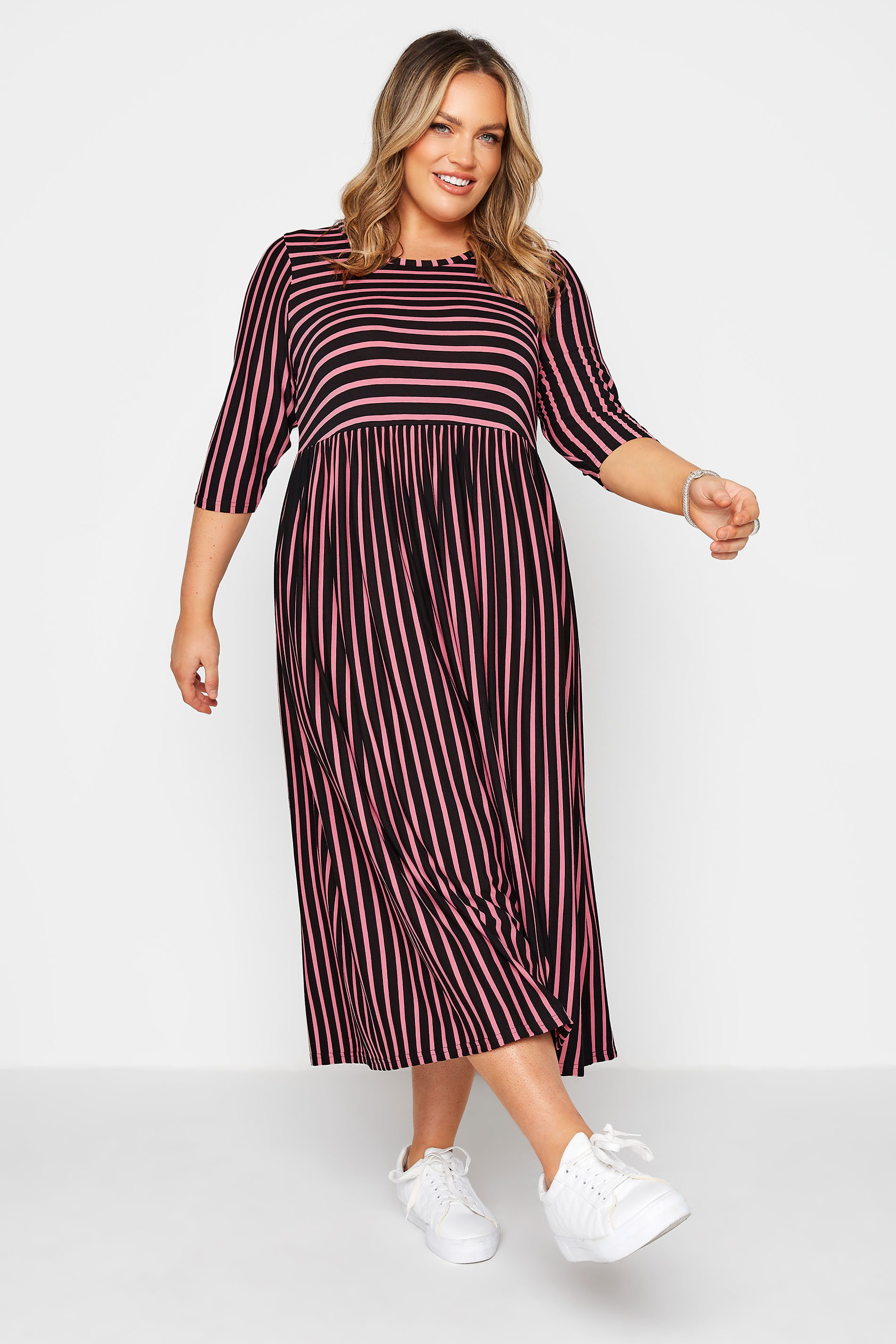 LIMITED COLLECTION Black & Pink Stripe Midaxi Dress_A.jpg