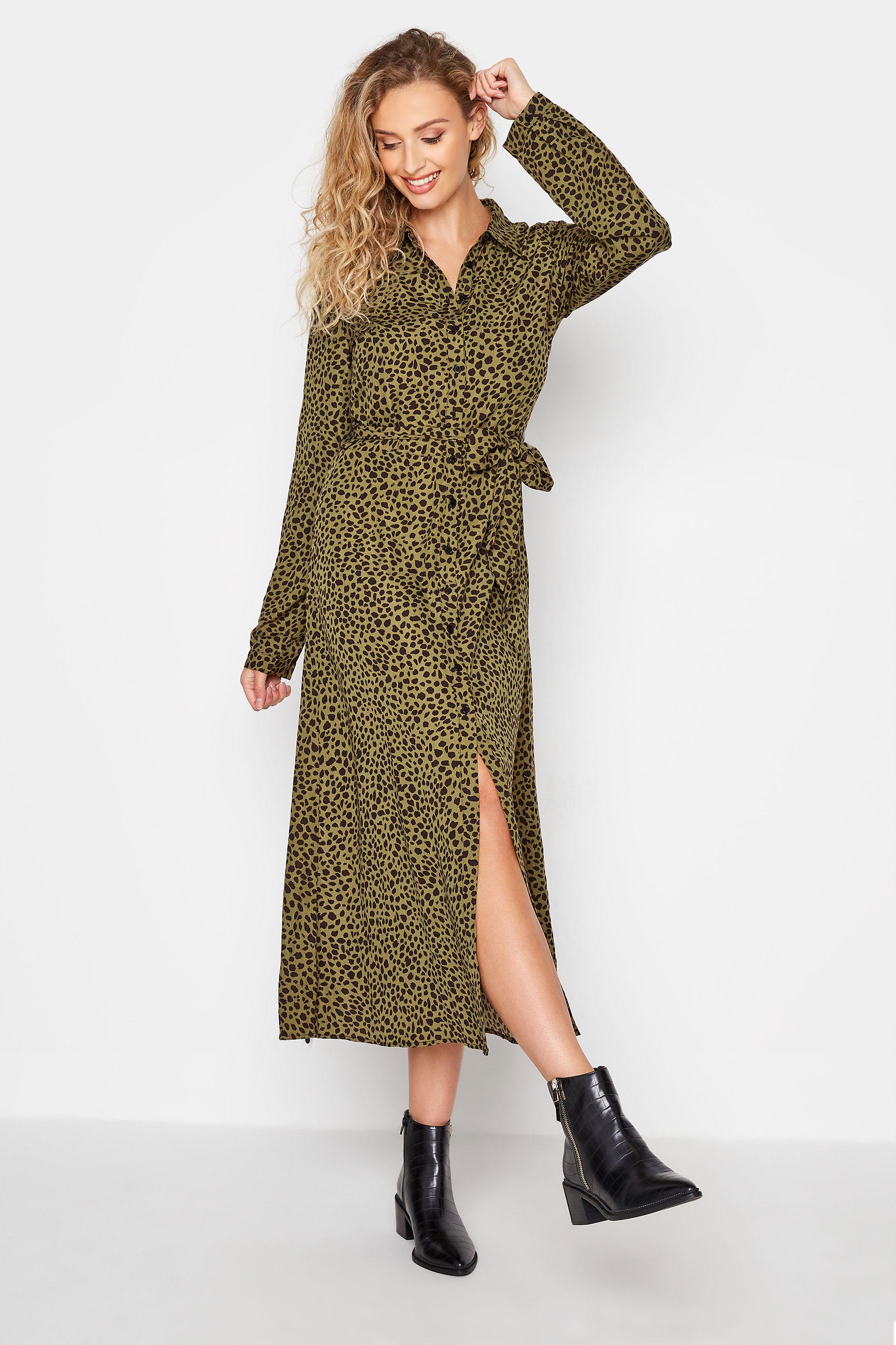 LTS Khaki Animal Print Shirt Midi Dress_A.jpg