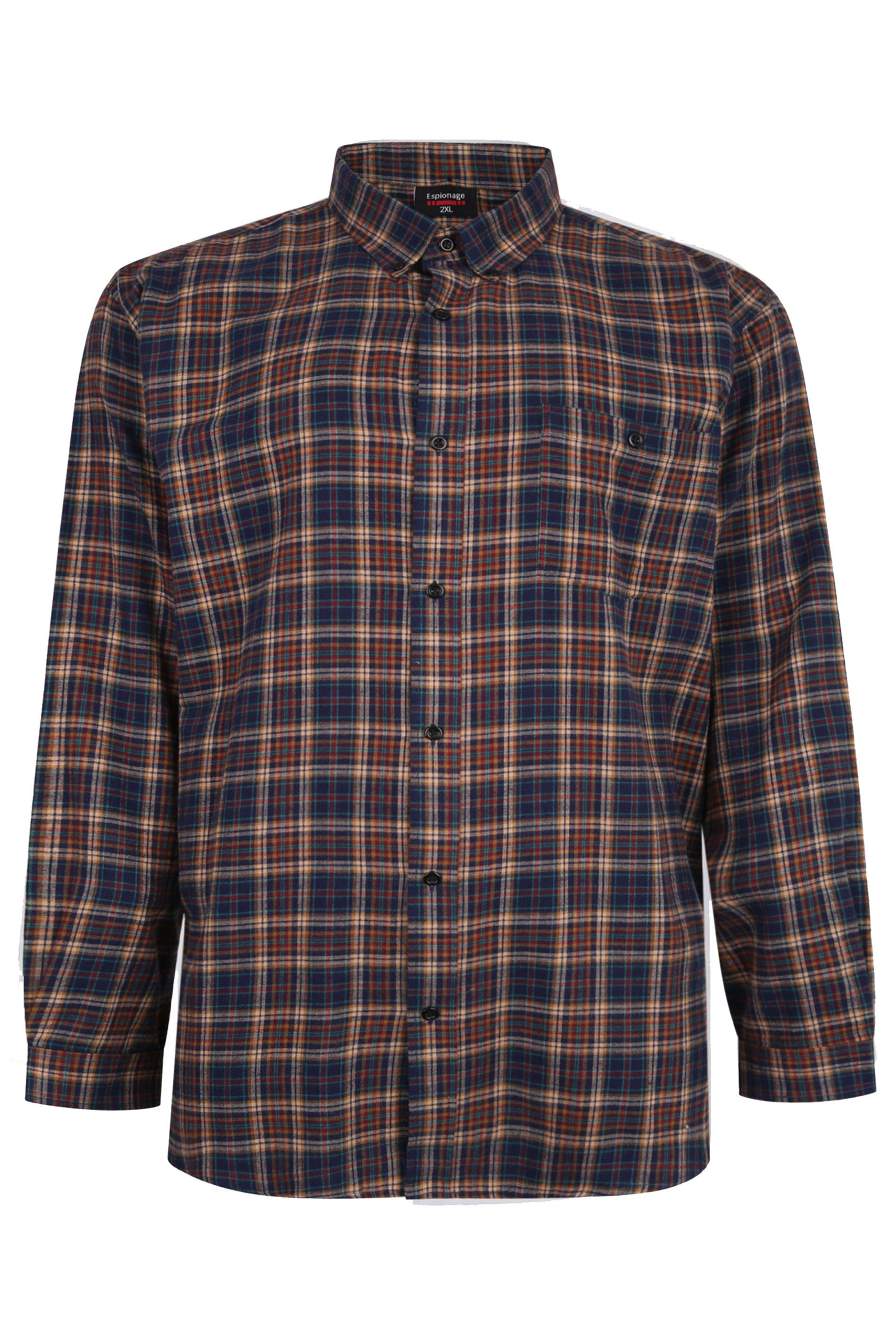 ESPIONAGE Navy & Mustard Check Brushed Cotton Flannel Shirt