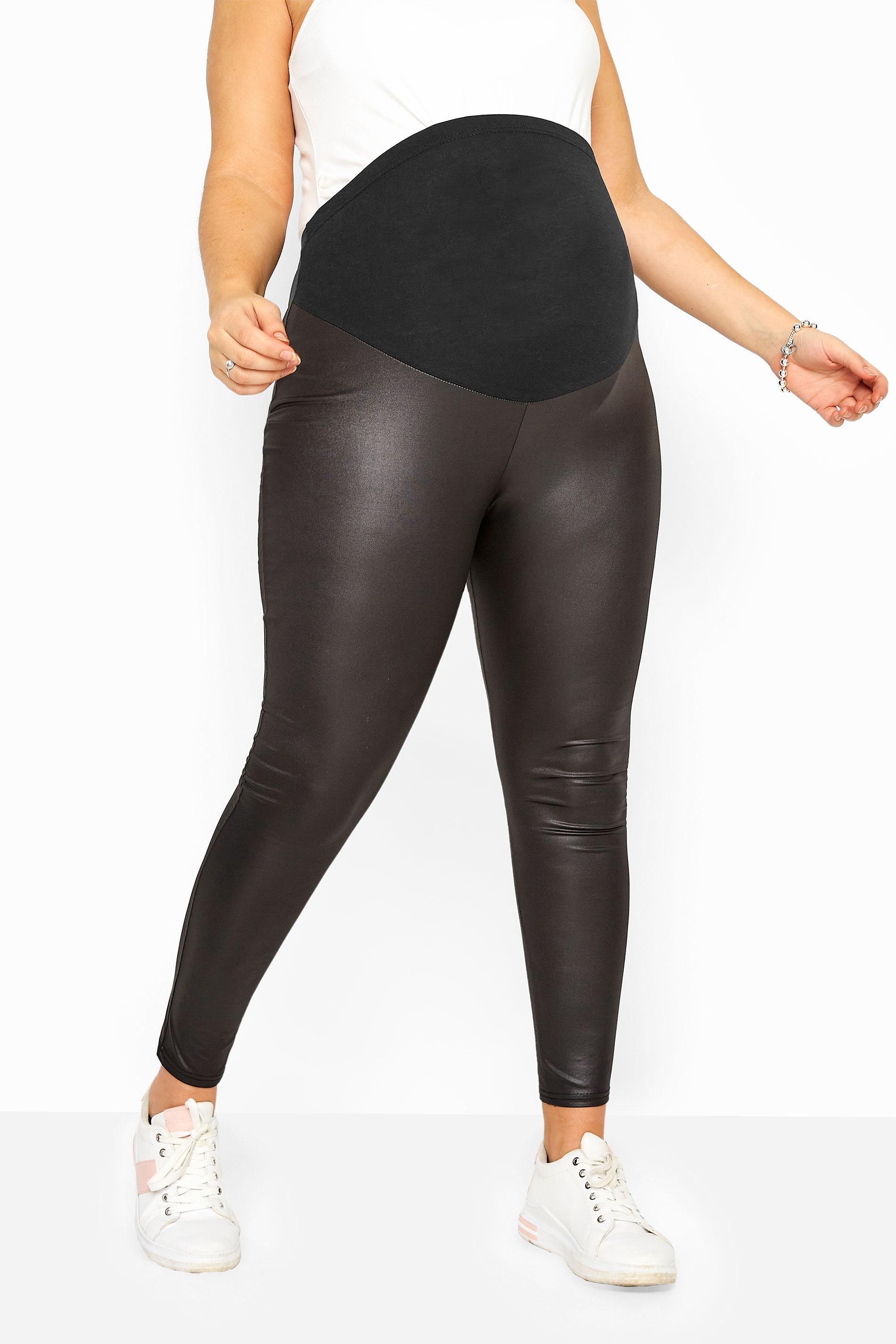 BUMP IT UP MATERNITY Black Leather Look Leggings