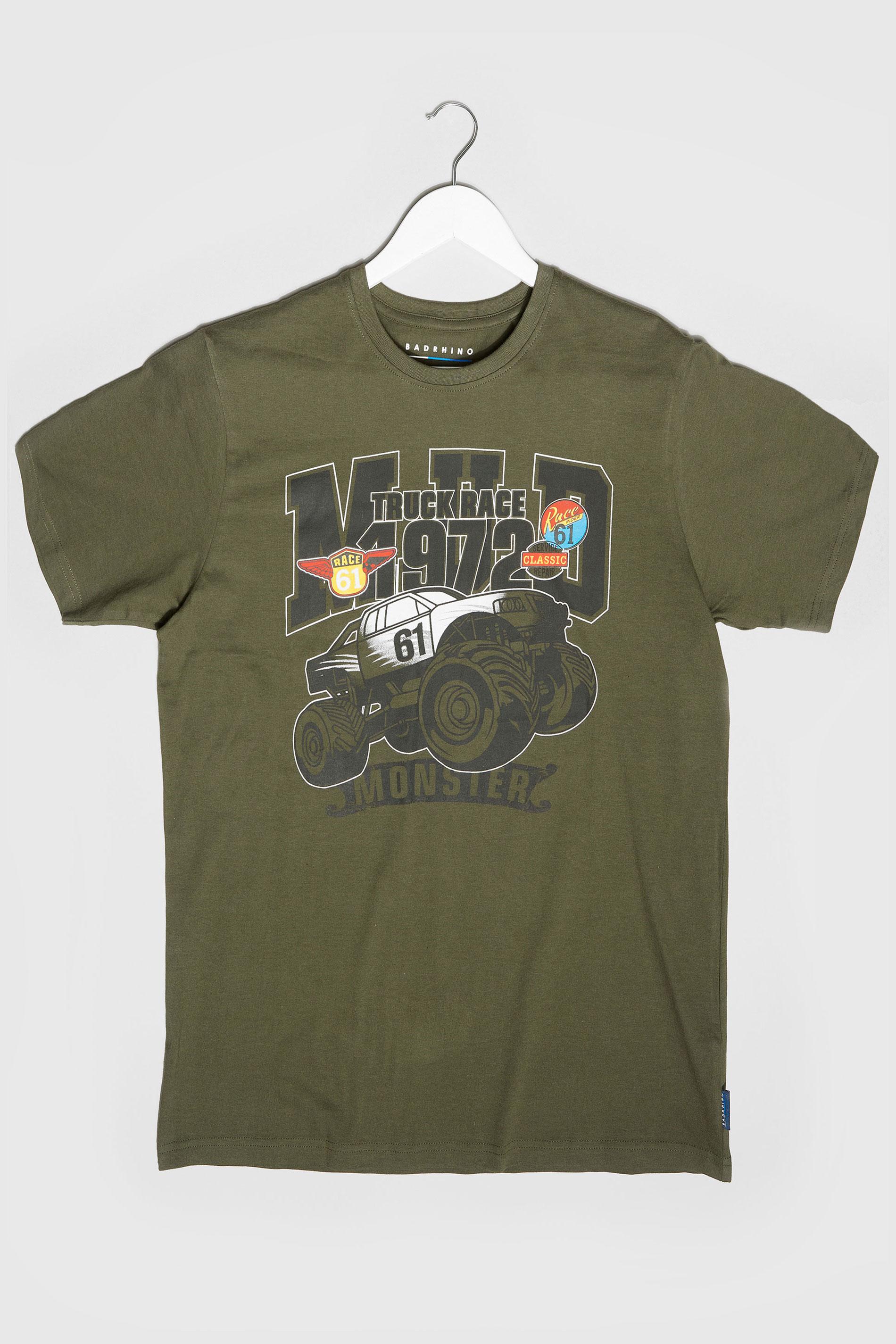 BadRhino Khaki Monster Truck Graphic Print T-Shirt
