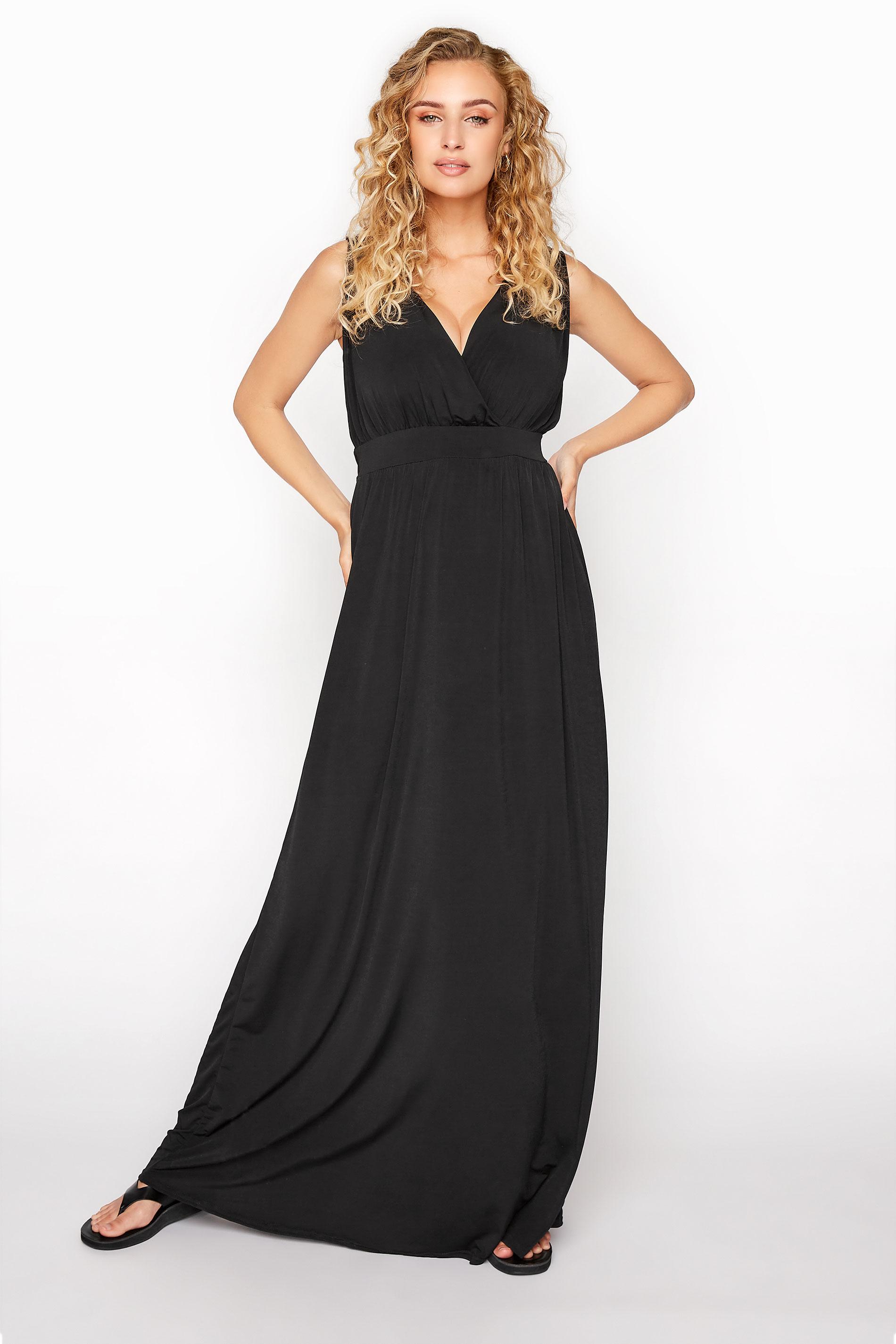 LTS Black V-Neck Maxi Dress
