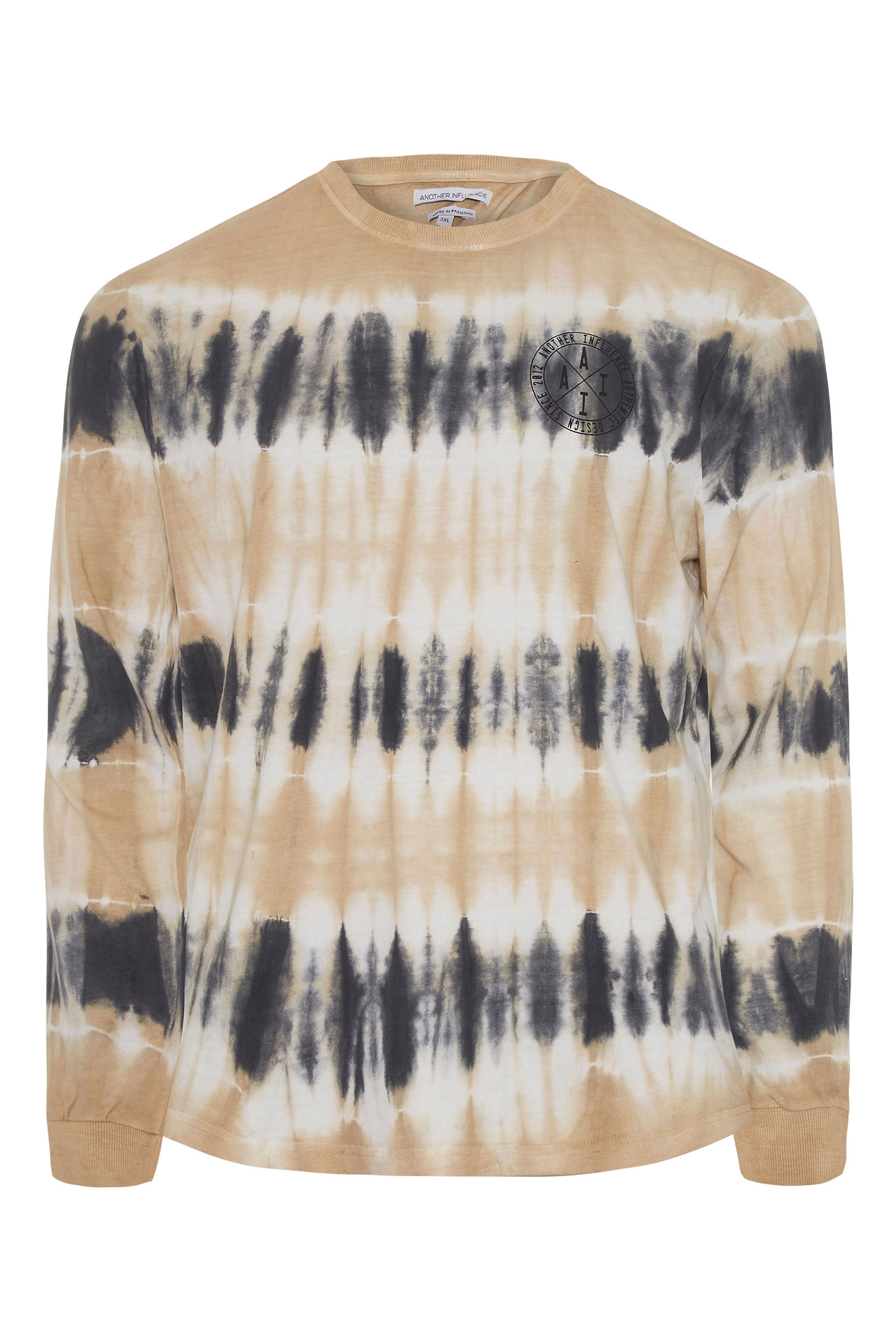 ANOTHER INFLUENCE Charcoal Long Sleeve Tie Dye T-Shirt_F.jpg