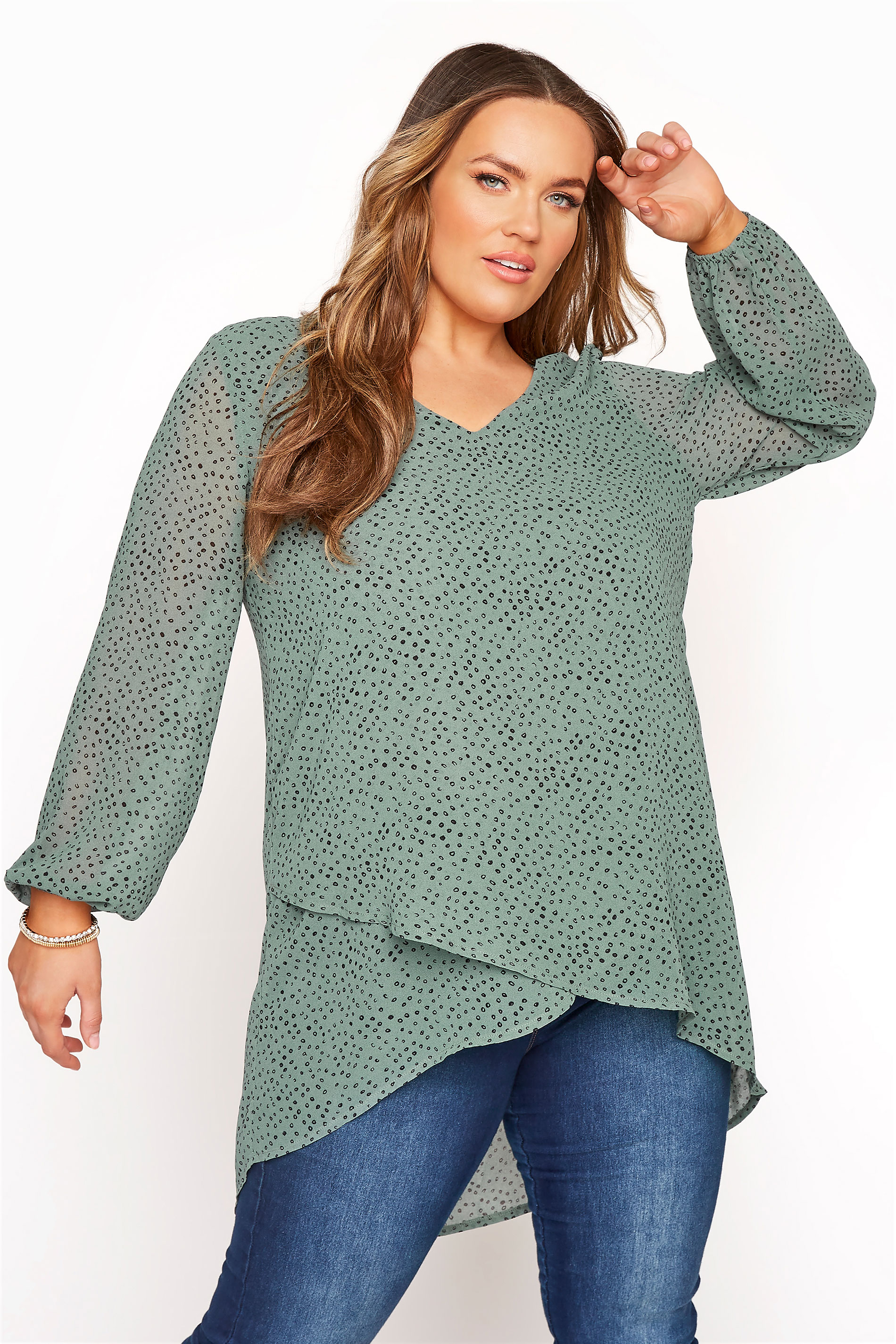 YOURS LONDON Green Dalmatian Wrap Blouse