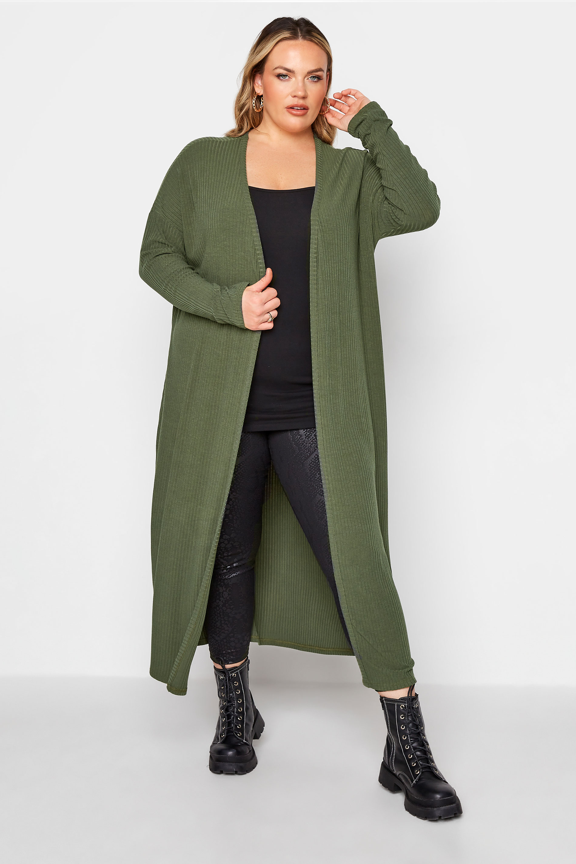LIMITED COLLECTION Khaki Ribbed Longline Cardigan_A.jpg