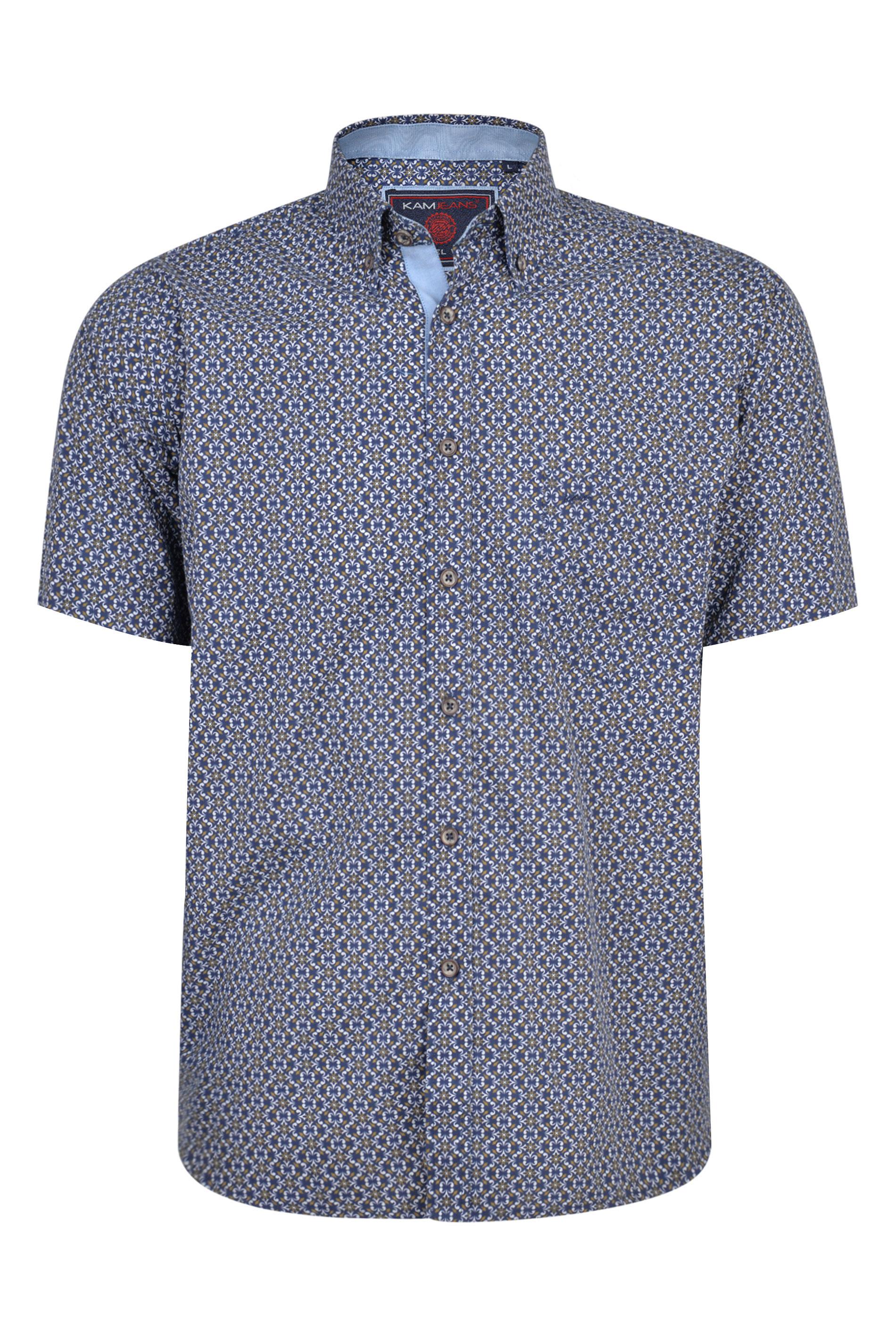 KAM Navy Paisley Short Sleeve Cotton Shirt