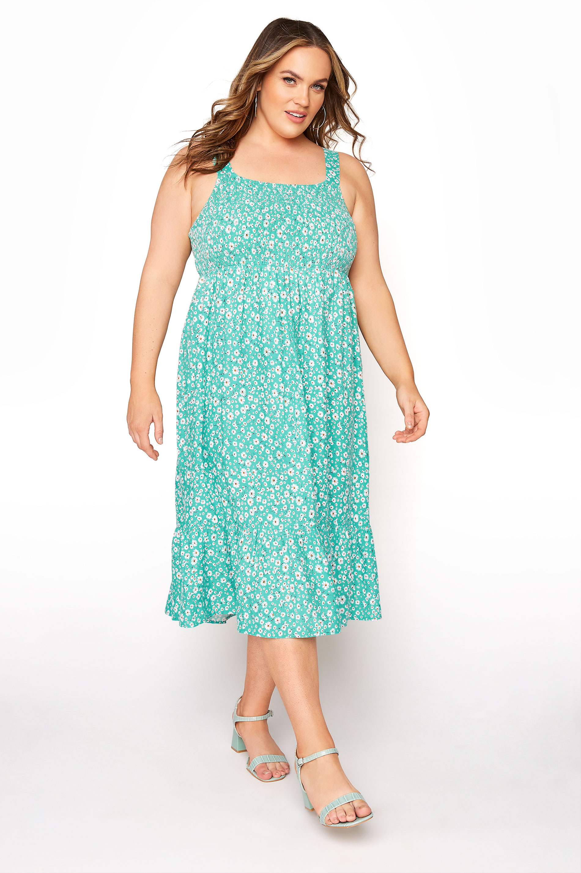 Green Floral Sleeveless Shirred Dress_A.jpg