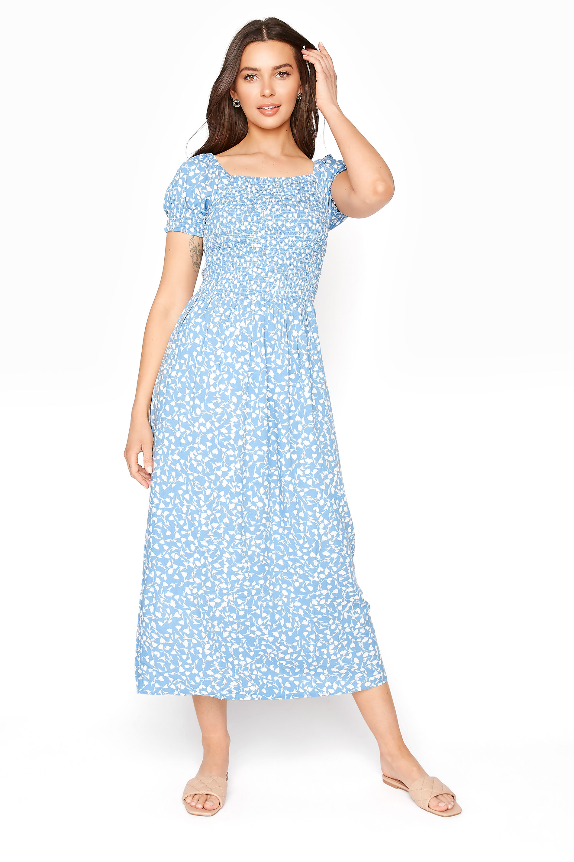 Blue Floral Print Shirred Body Dress